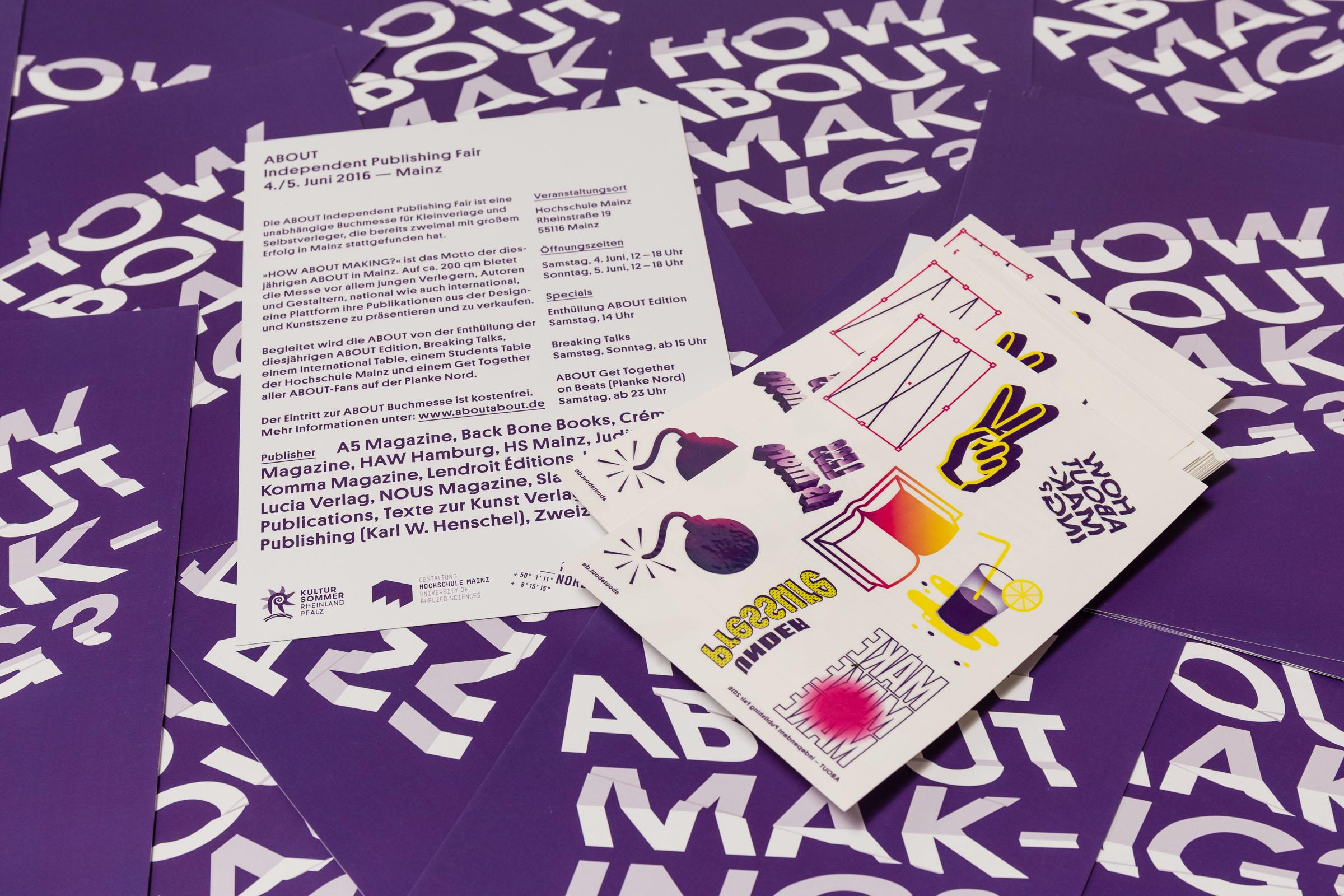 Rückseite Flyer DIN A5 und Sticker ABOUT Tattoo-Edition 2016  © Christian Weber – Büro für Gestaltung und Kommunikation
