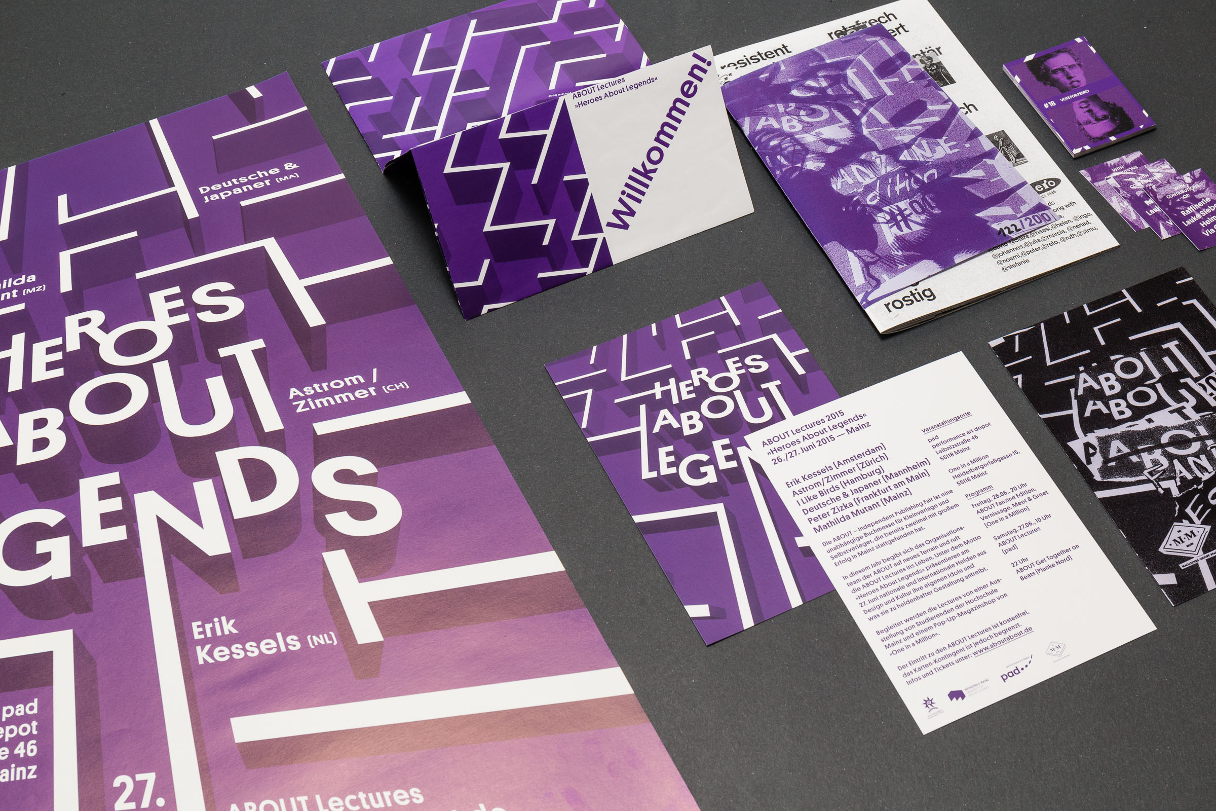 Corporate Design Übersicht der Druckprodukte der ABOUT – Independent Publishing Fair Mainz Heroes About Legends 2015 © Christian Weber – Büro für Gestaltung und Kommunikation