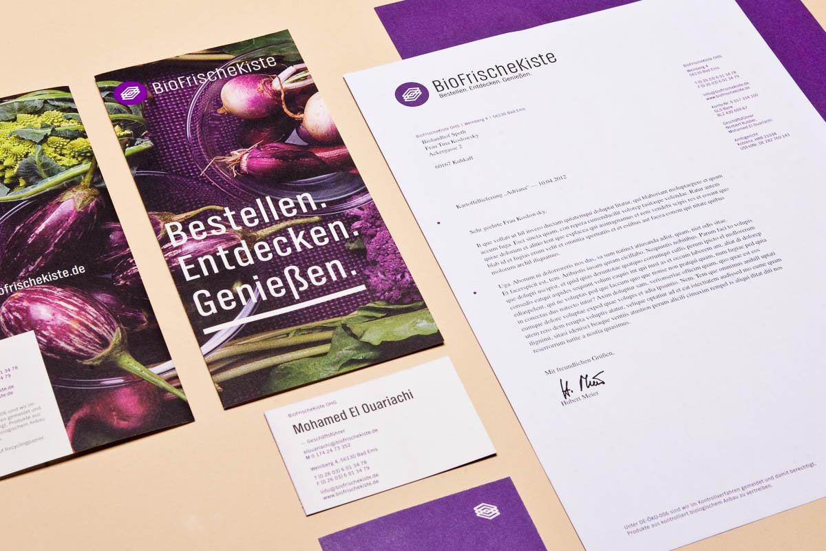 Biofrischekiste Corporate-Design Detailansicht Briefpapier und Visitenkarte © Christian Weber – Büro für Gestaltung und Kommunikation