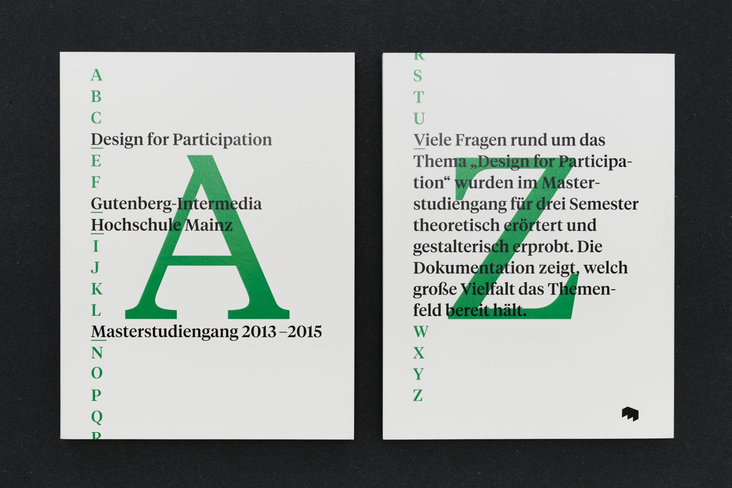 Cover und Rückseite Werkbericht – Design for Participation © Christian Weber – Büro für Gestaltung und Kommunikation