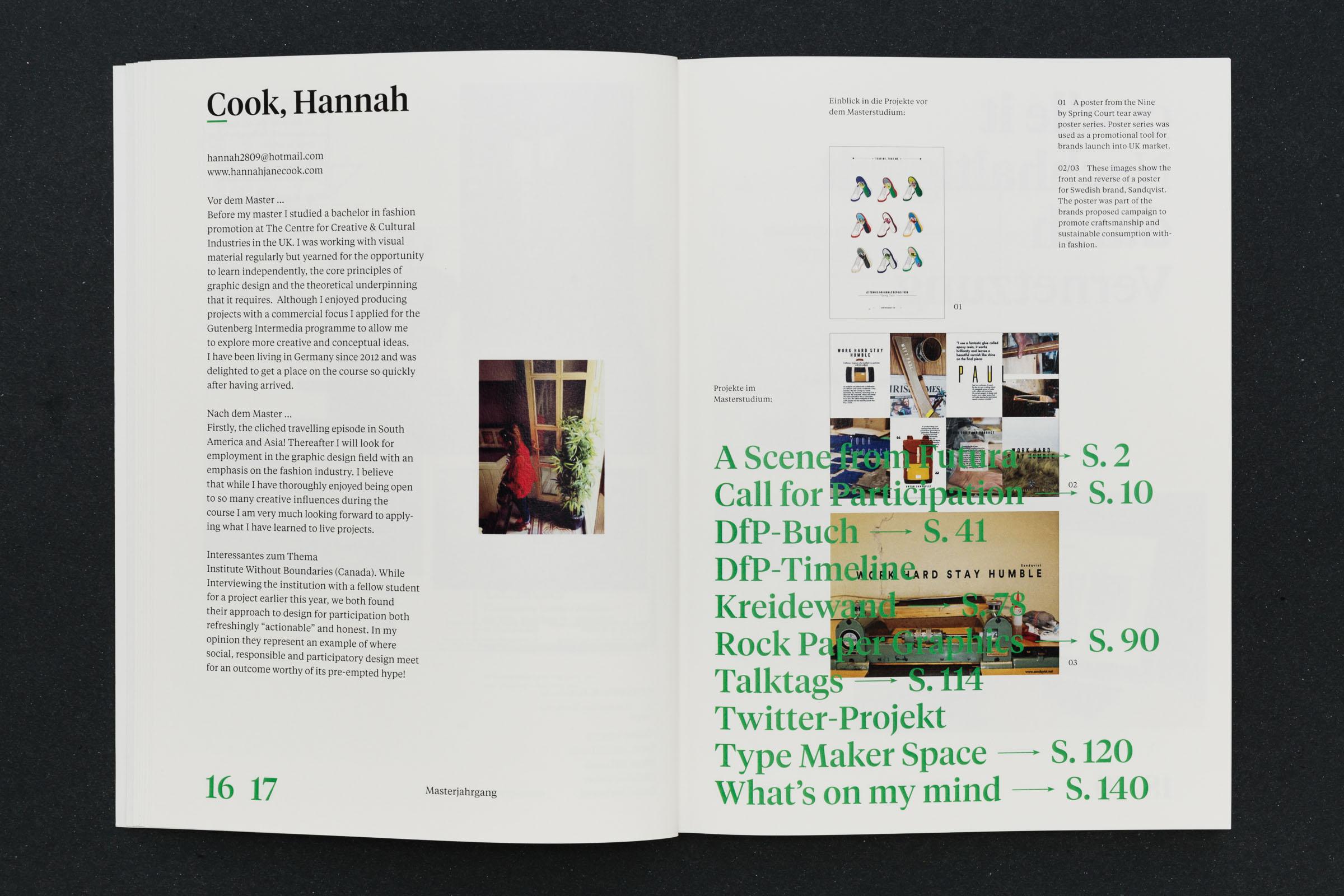 Vorstellung Masterstudent mit Vita und Projekten Verweise in großer Typografie © Christian Weber – Büro für Gestaltung und Kommunikation