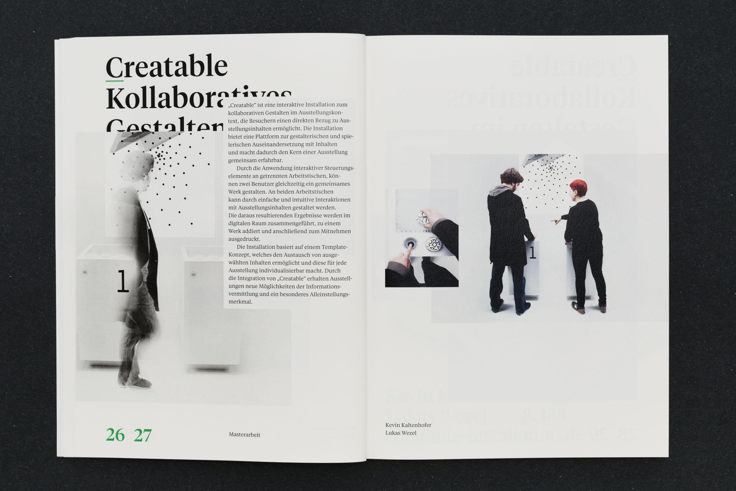 Doppelseite Creatable kollaboratives Gestalten im Ausstellungskontext Werkbericht – Design for Participation © Christian Weber – Büro für Gestaltung und Kommunikation