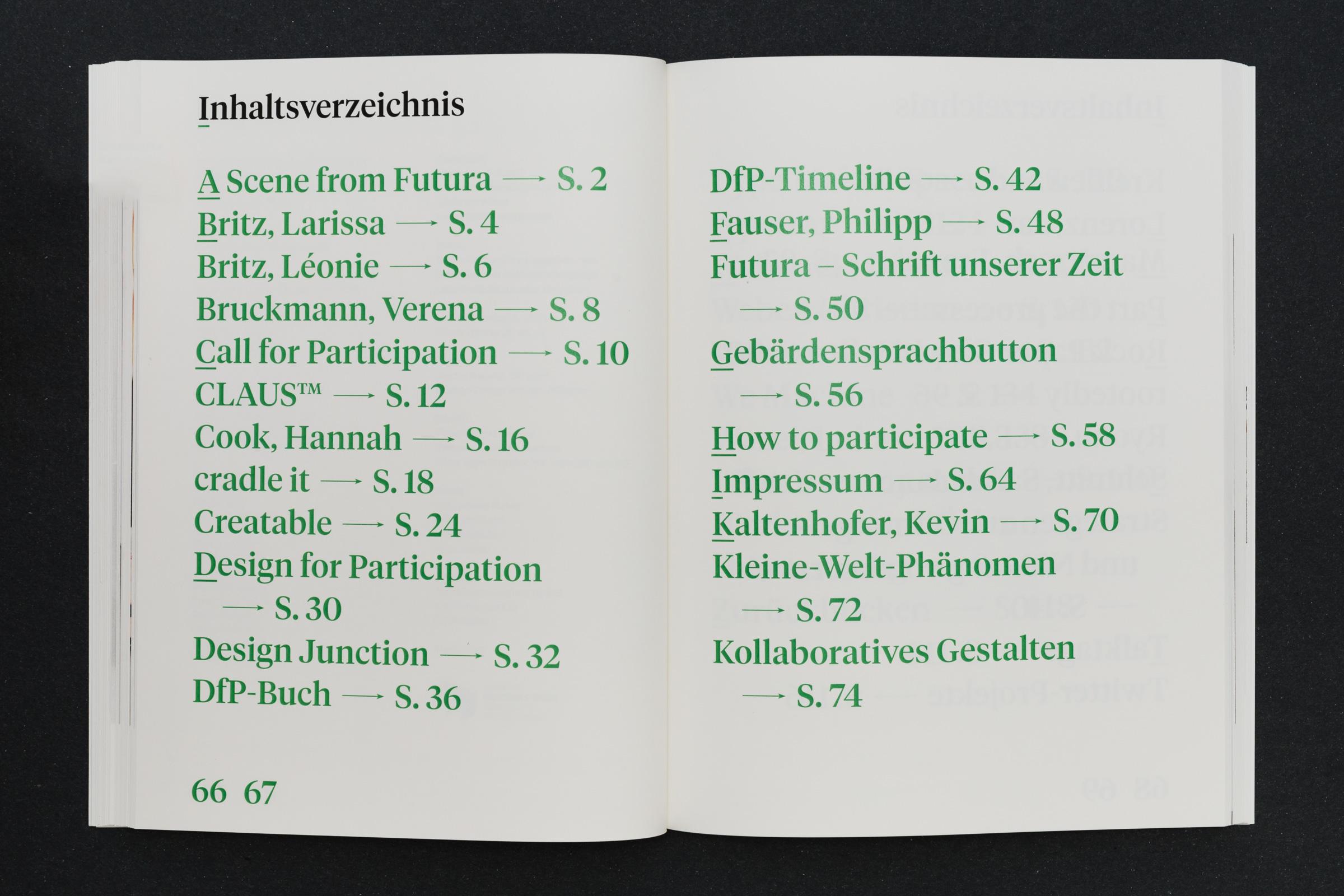 Inhaltsverzeichnis mit großer Typografie Werkbericht – Design for Participation © Christian Weber – Büro für Gestaltung und Kommunikation