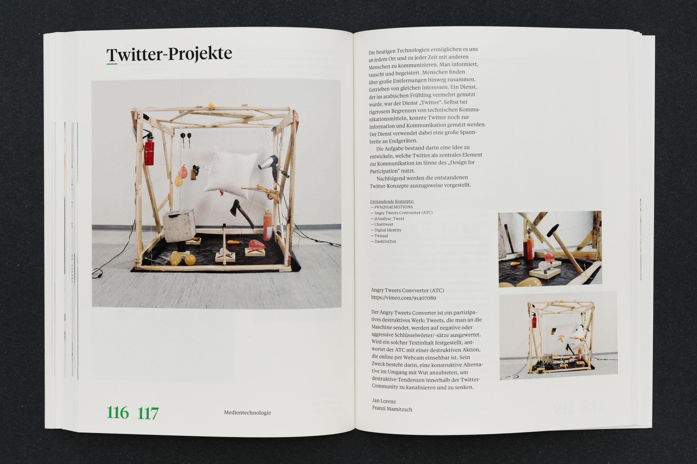 Doppelseite mit Bild und Typografie Twitter-Projekte Werkbericht – Design for Participation © Christian Weber – Büro für Gestaltung und Kommunikation
