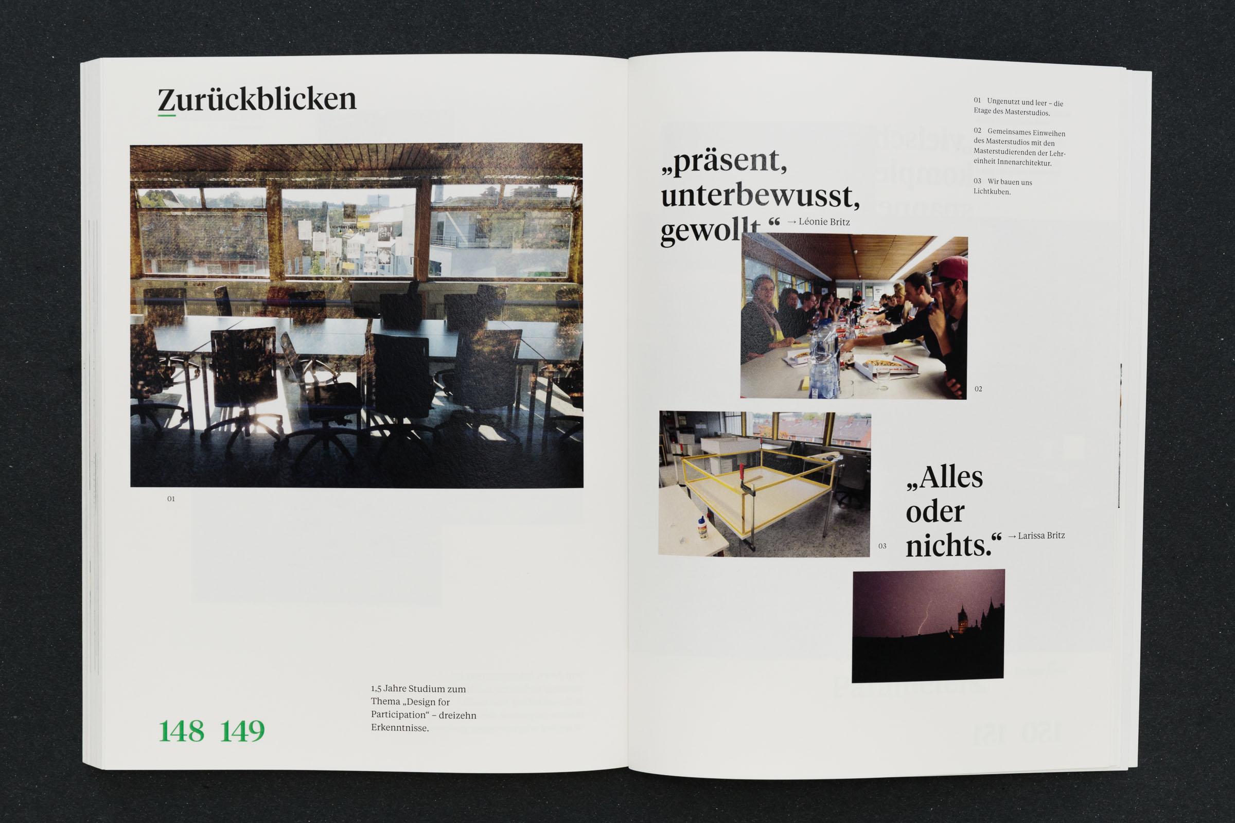 Freie Seitengestaltung mit Bildern Doppelseite freies Layout Werkbericht – Design for Participation © Christian Weber – Büro für Gestaltung und Kommunikation