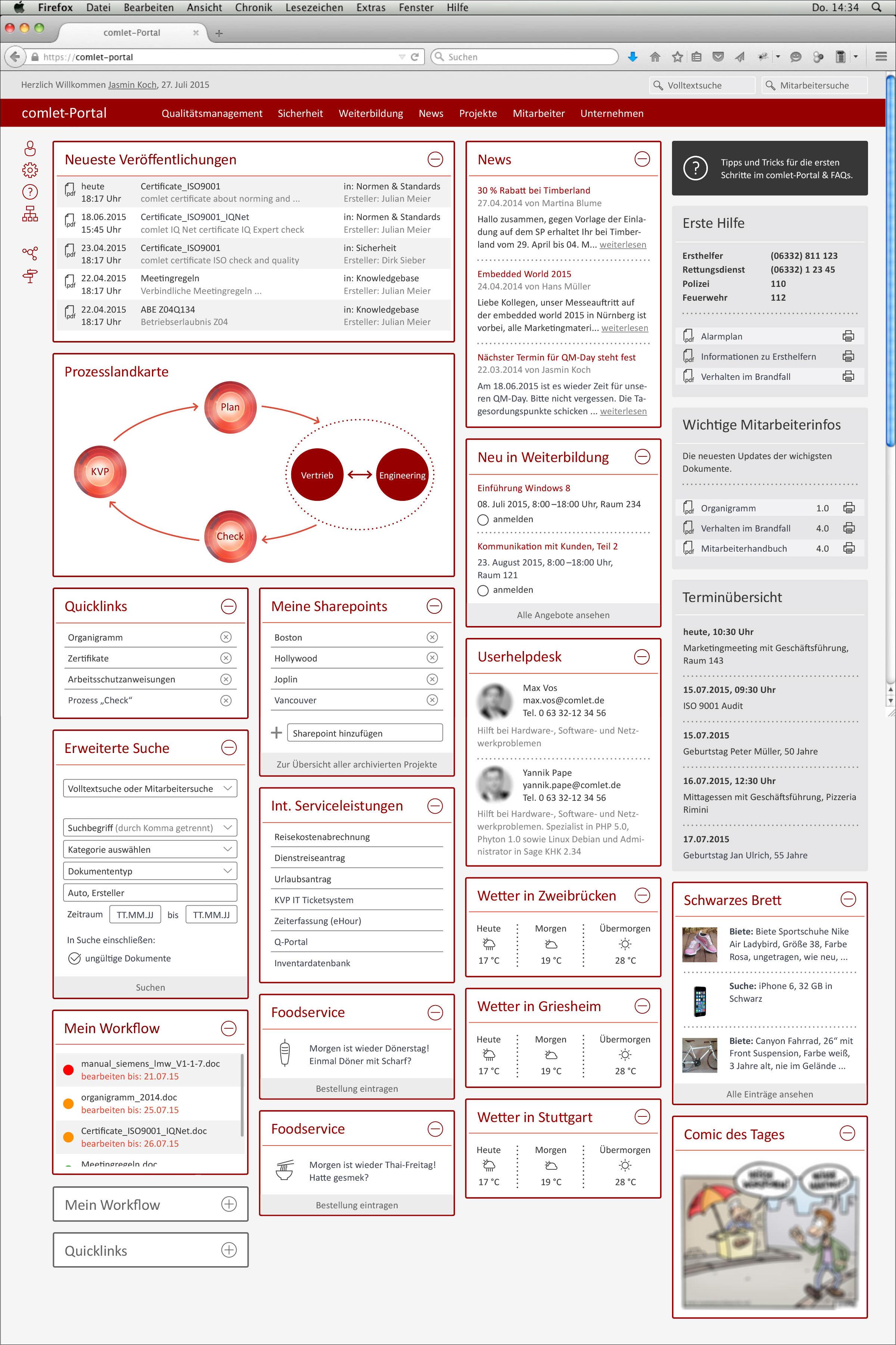 Intranet für die Firma comlet – Verteilte Systeme GmbH in Zweibrücken Screendesign Übersicht aller Widgets © Christian Weber – Büro für Gestaltung und Kommunikation