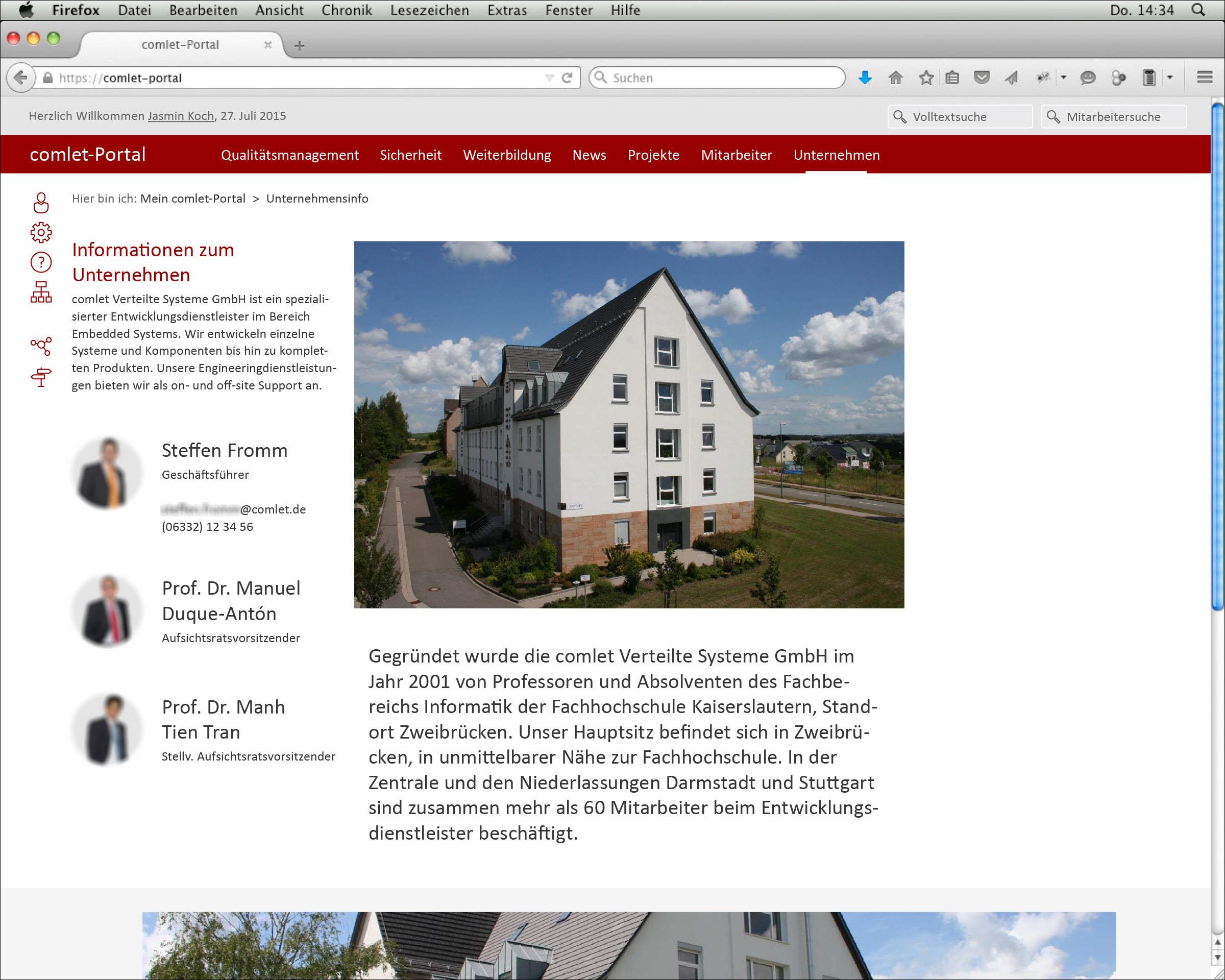 Screendesign der Webseite Unternehmensinfo © Christian Weber – Büro für Gestaltung und Kommunikation