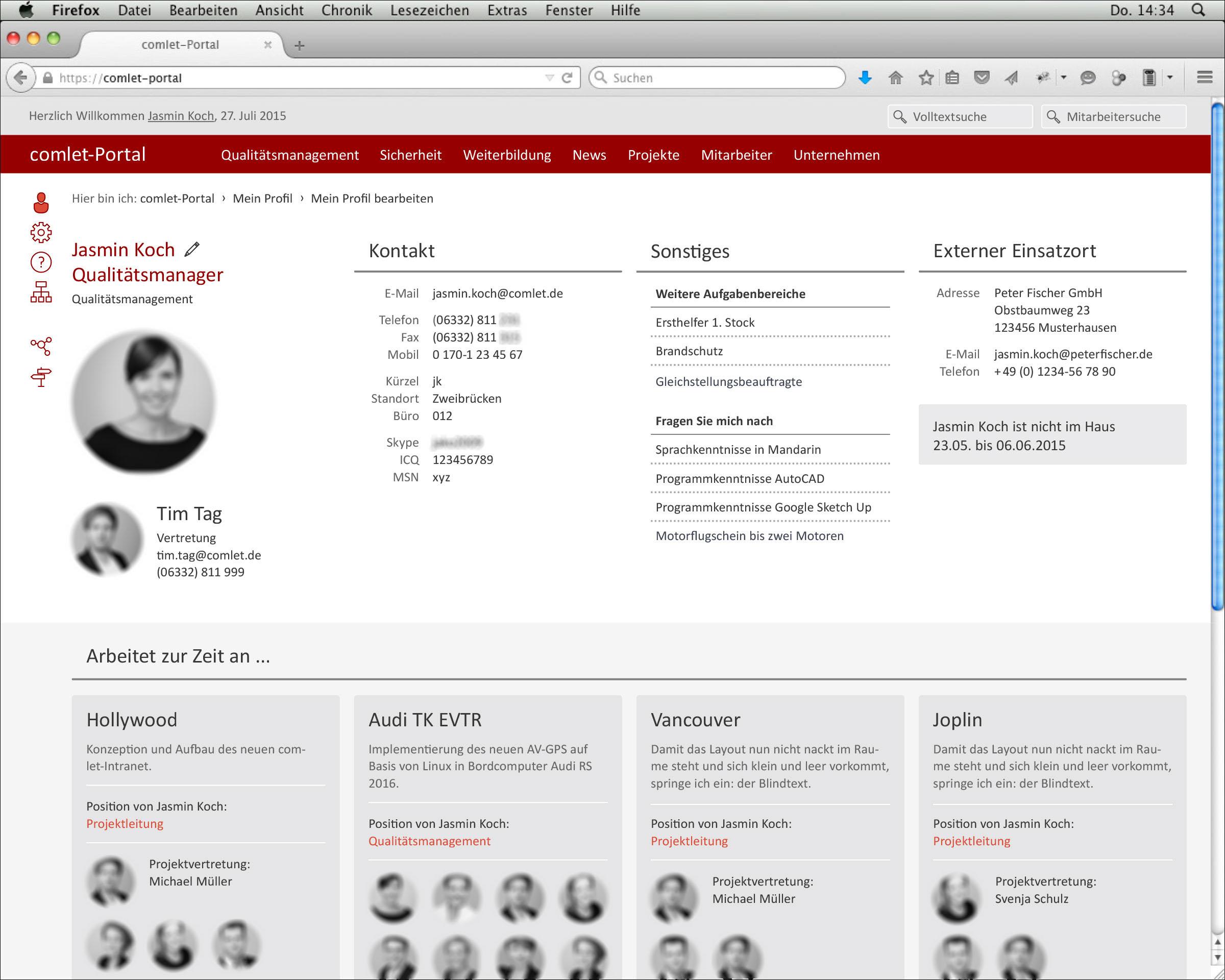 Screendesign der Webseite Profileinstellungen © Christian Weber – Büro für Gestaltung und Kommunikation