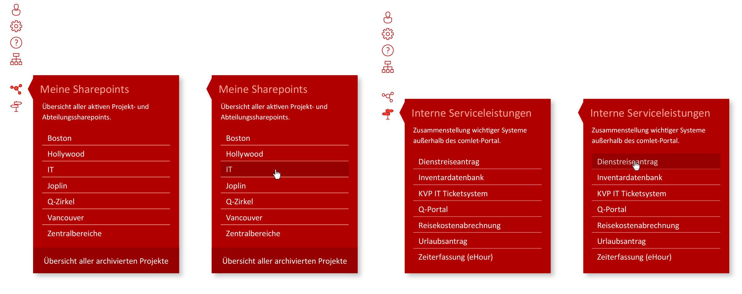 Zusatznavigation am linken Bildschirmrand © Christian Weber – Büro für Gestaltung und Kommunikation