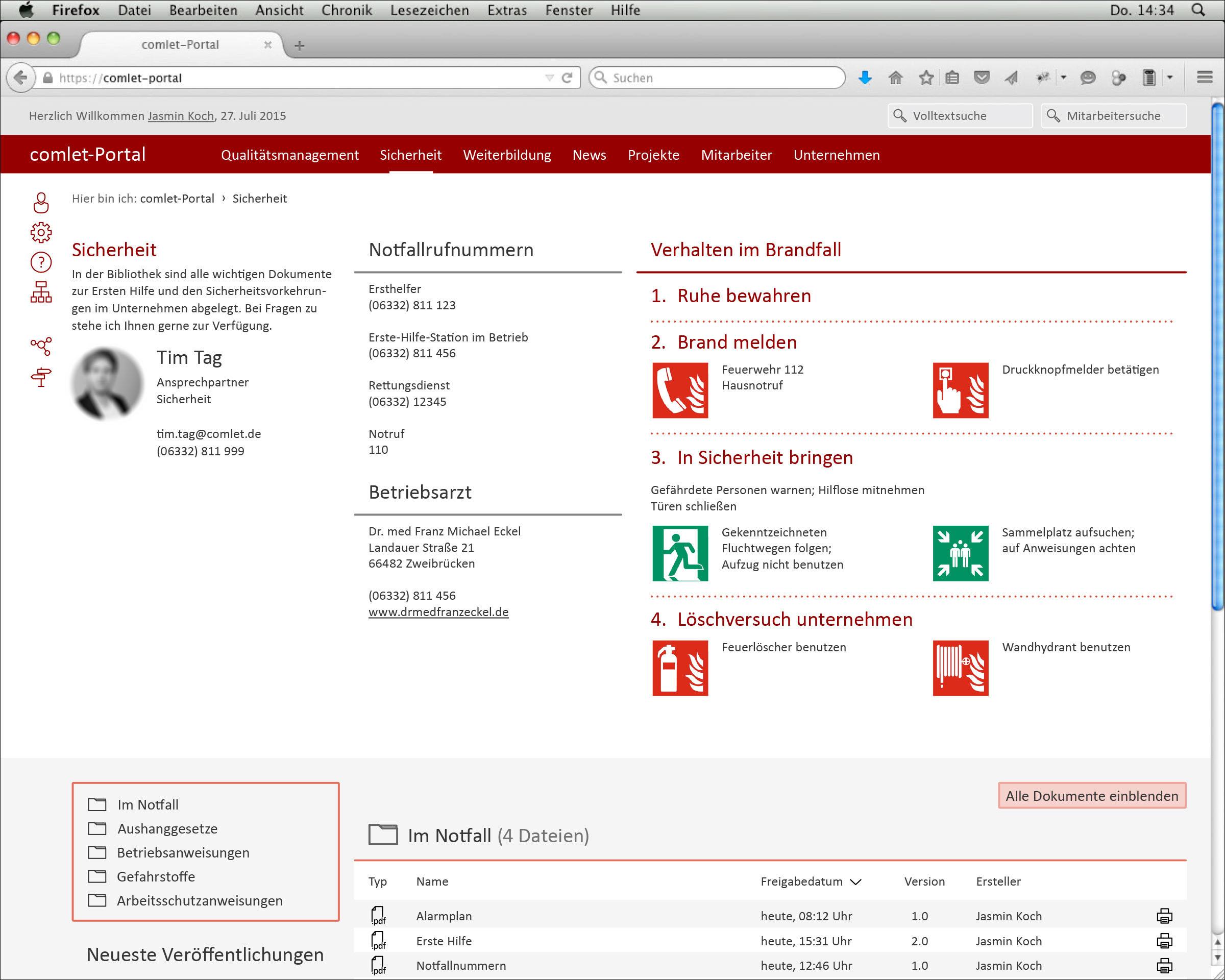 Screendesign der Webseite Sicherheit © Christian Weber – Büro für Gestaltung und Kommunikation