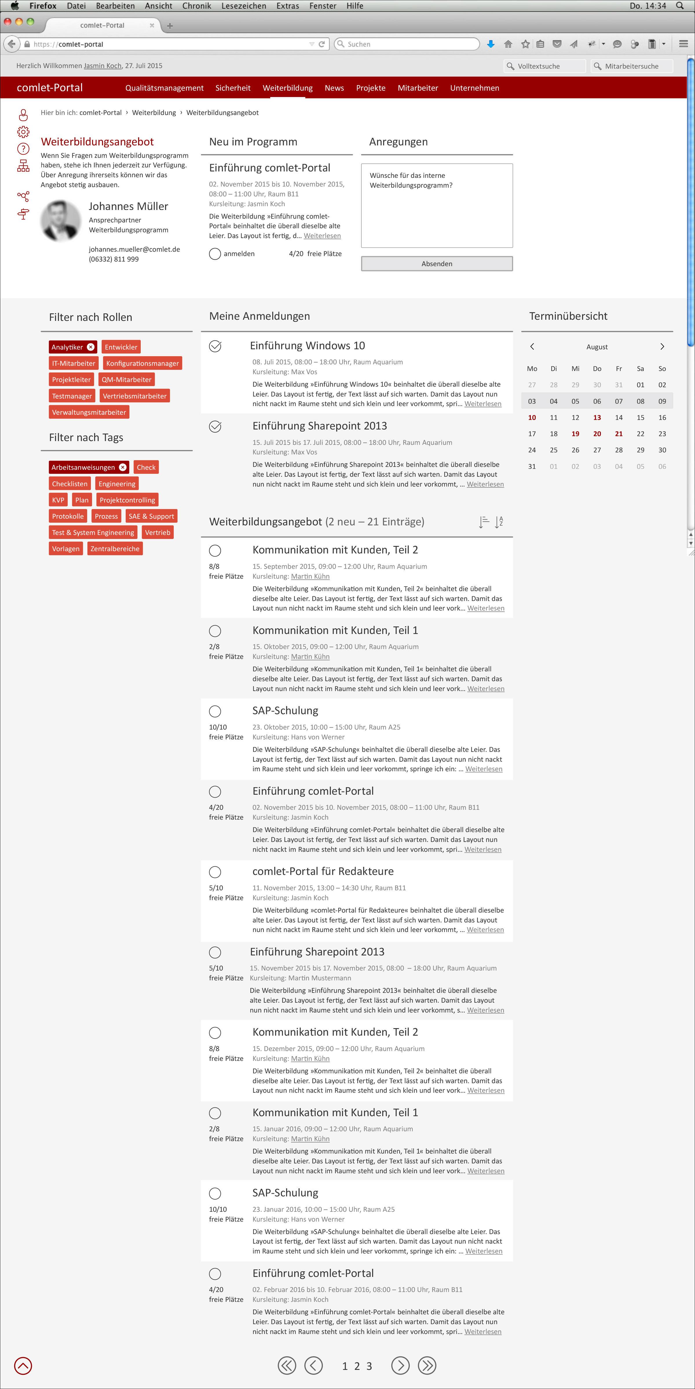 Screendesign der Webseite Weiterbildung  © Christian Weber – Büro für Gestaltung und Kommunikation