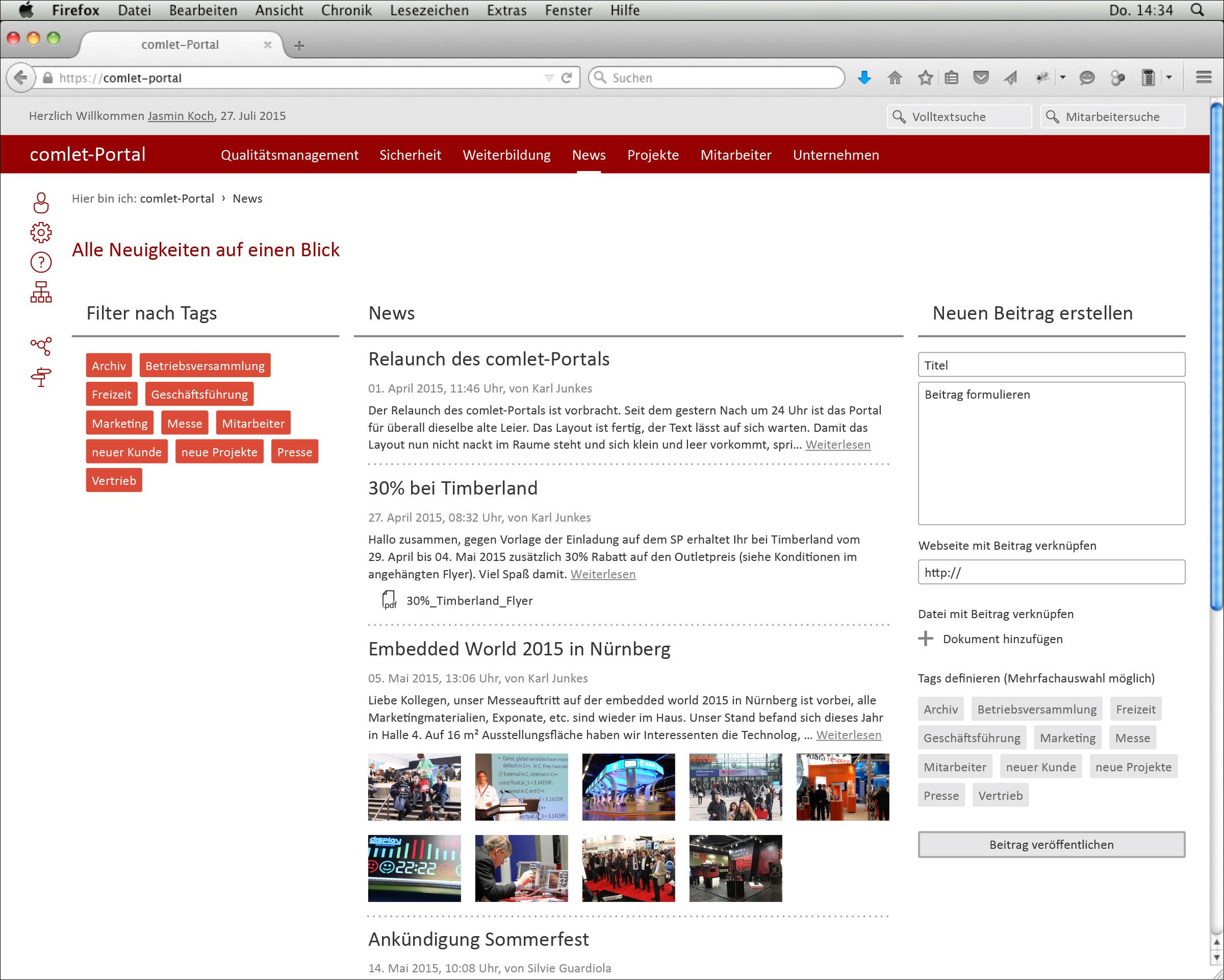 Screendesign der Webseite News © Christian Weber – Büro für Gestaltung und Kommunikation