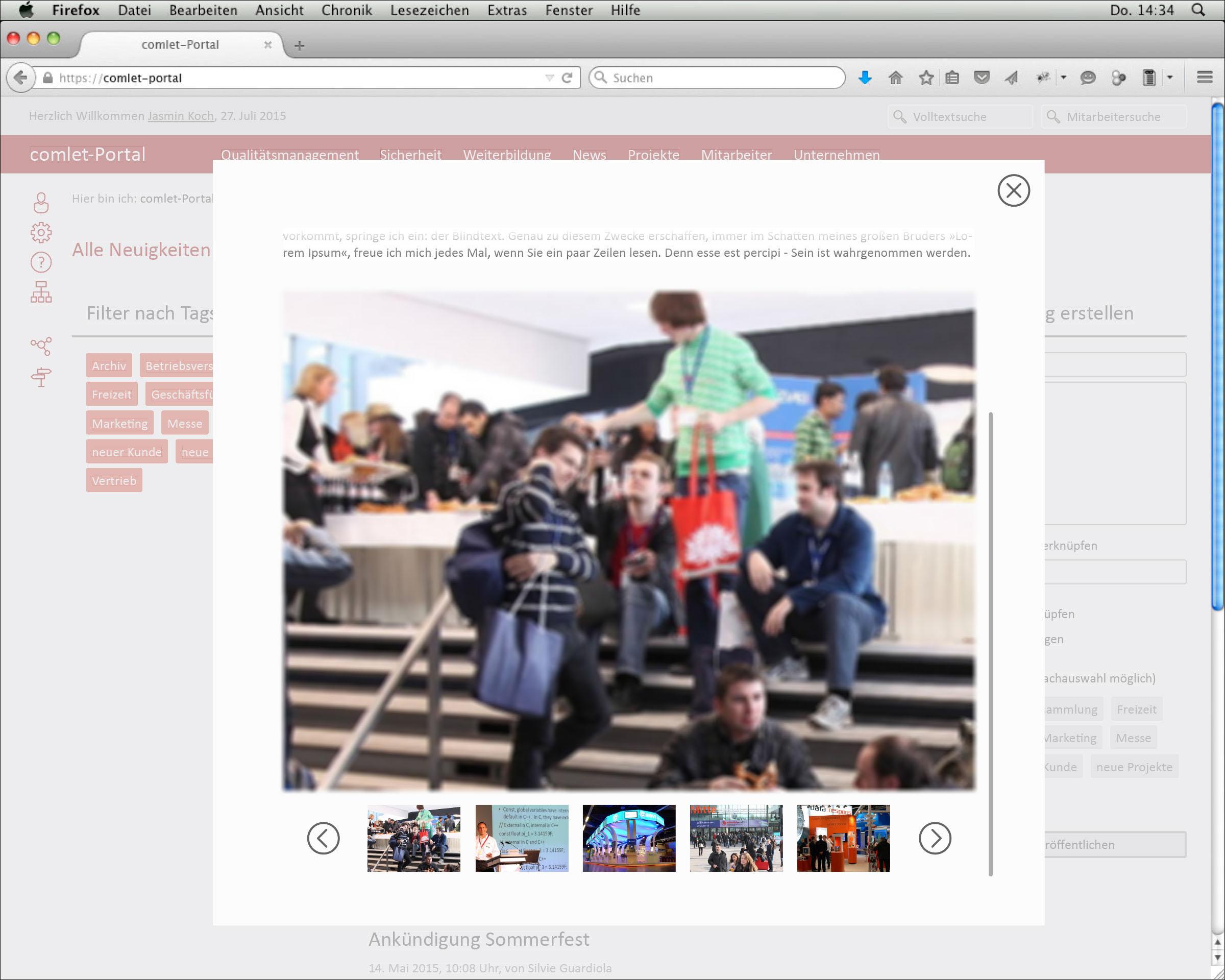 Screendesign der Webseite News mit Bildergalerie in Lightbox © Christian Weber – Büro für Gestaltung und Kommunikation