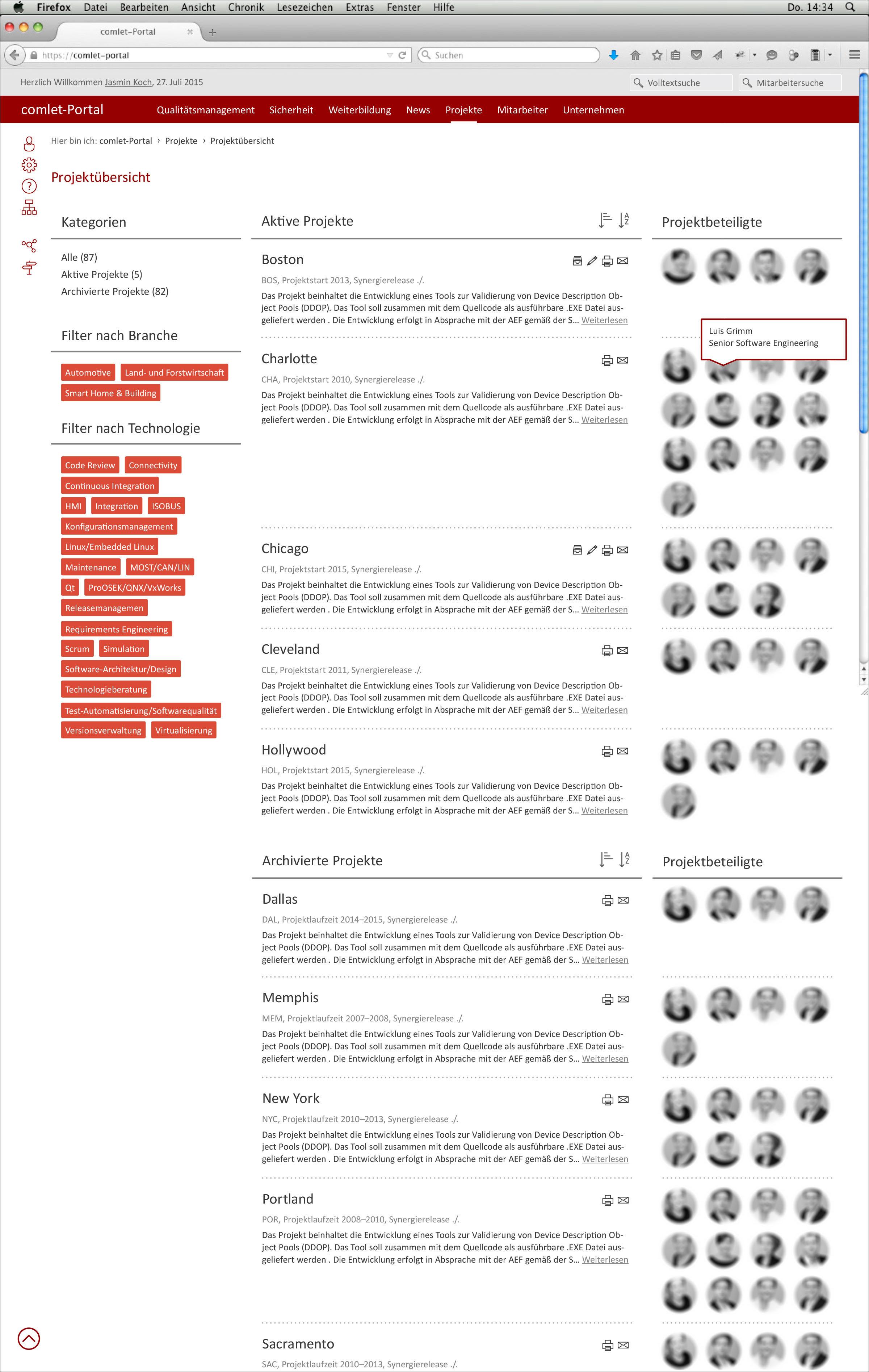 Screendesign der Webseite Projektübersicht © Christian Weber – Büro für Gestaltung und Kommunikation