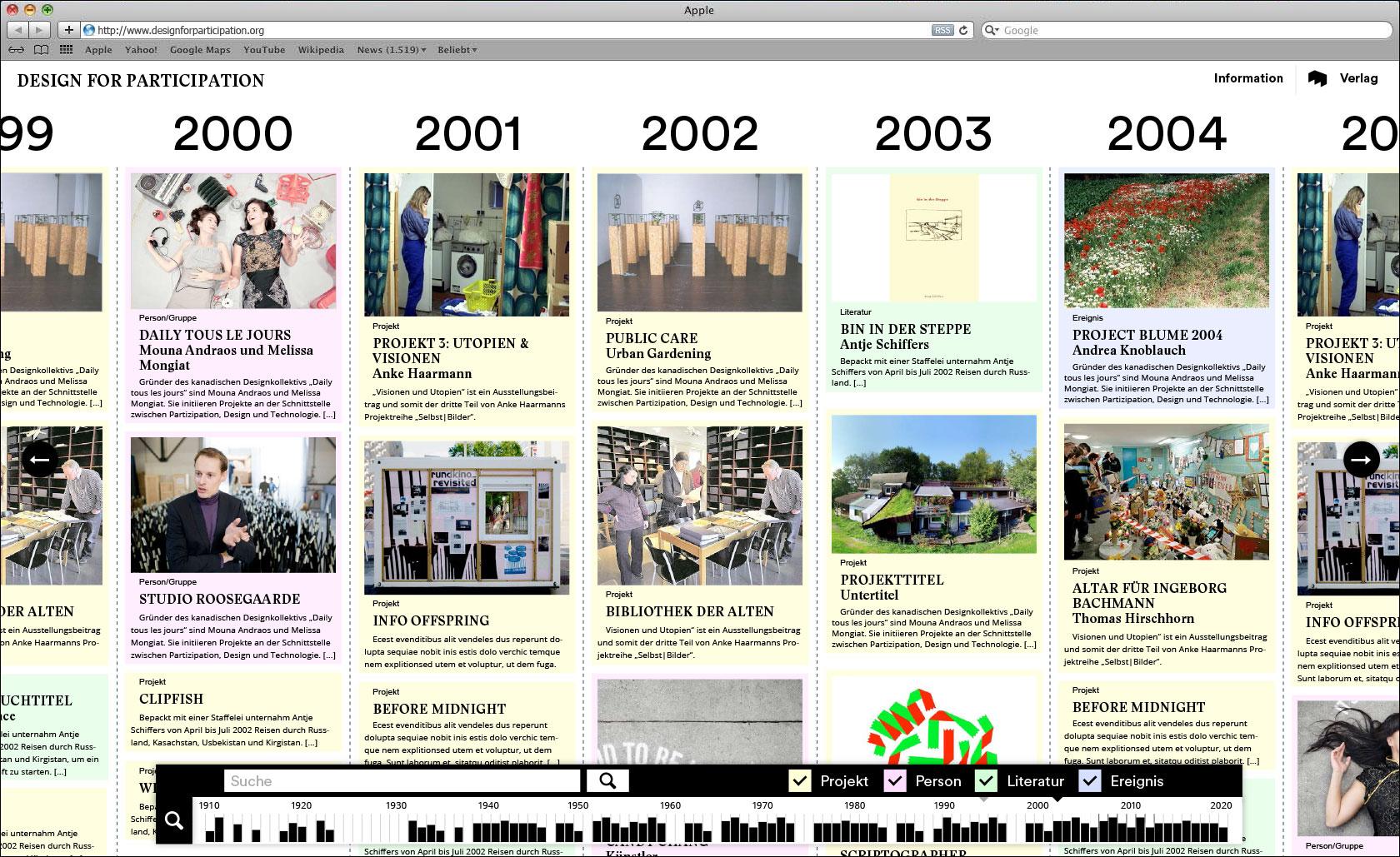Timeline mit Projekteinträge Navigation mit Filtermöglichkeit und Suchfunktion am unteren Bildschirmrand Webseite für Designlabor Gutenberg-Intermedia  © Christian Weber – Büro für Gestaltung und Kommunikation