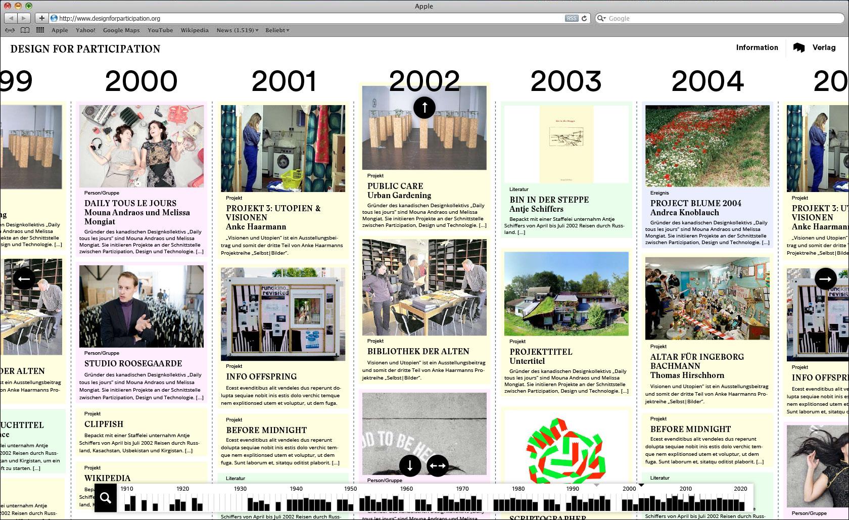 Vertikale Scrollmöglichkeit je Zeiteinheit Webseite für Designlabor Gutenberg-Intermedia  © Christian Weber – Büro für Gestaltung und Kommunikation