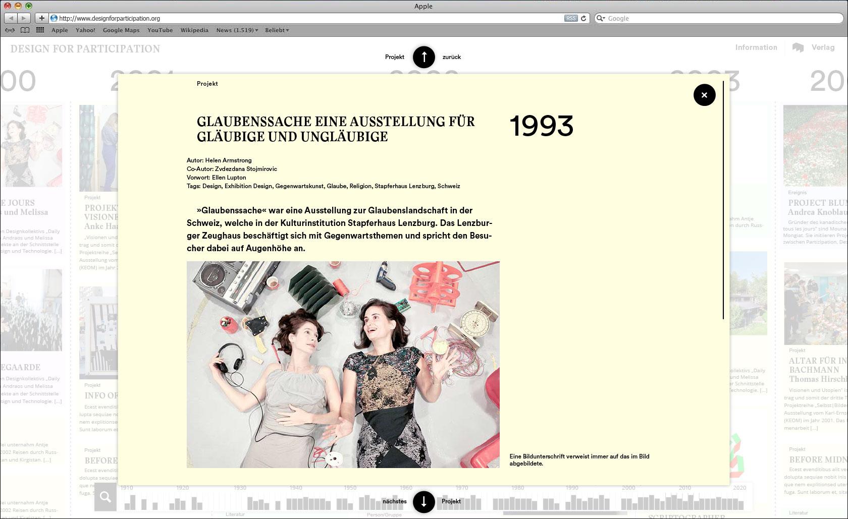 Lightbox mit Detailinformationen und Bildern je Projekteintrag Webseite für Designlabor Gutenberg-Intermedia  © Christian Weber – Büro für Gestaltung und Kommunikation