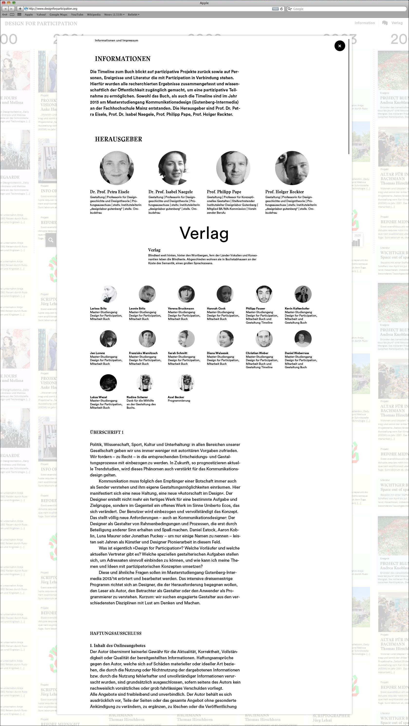 Informationsseite mit Projektinfo und Beteiligten Impressum Webseite für Designlabor Gutenberg-Intermedia  © Christian Weber – Büro für Gestaltung und Kommunikation