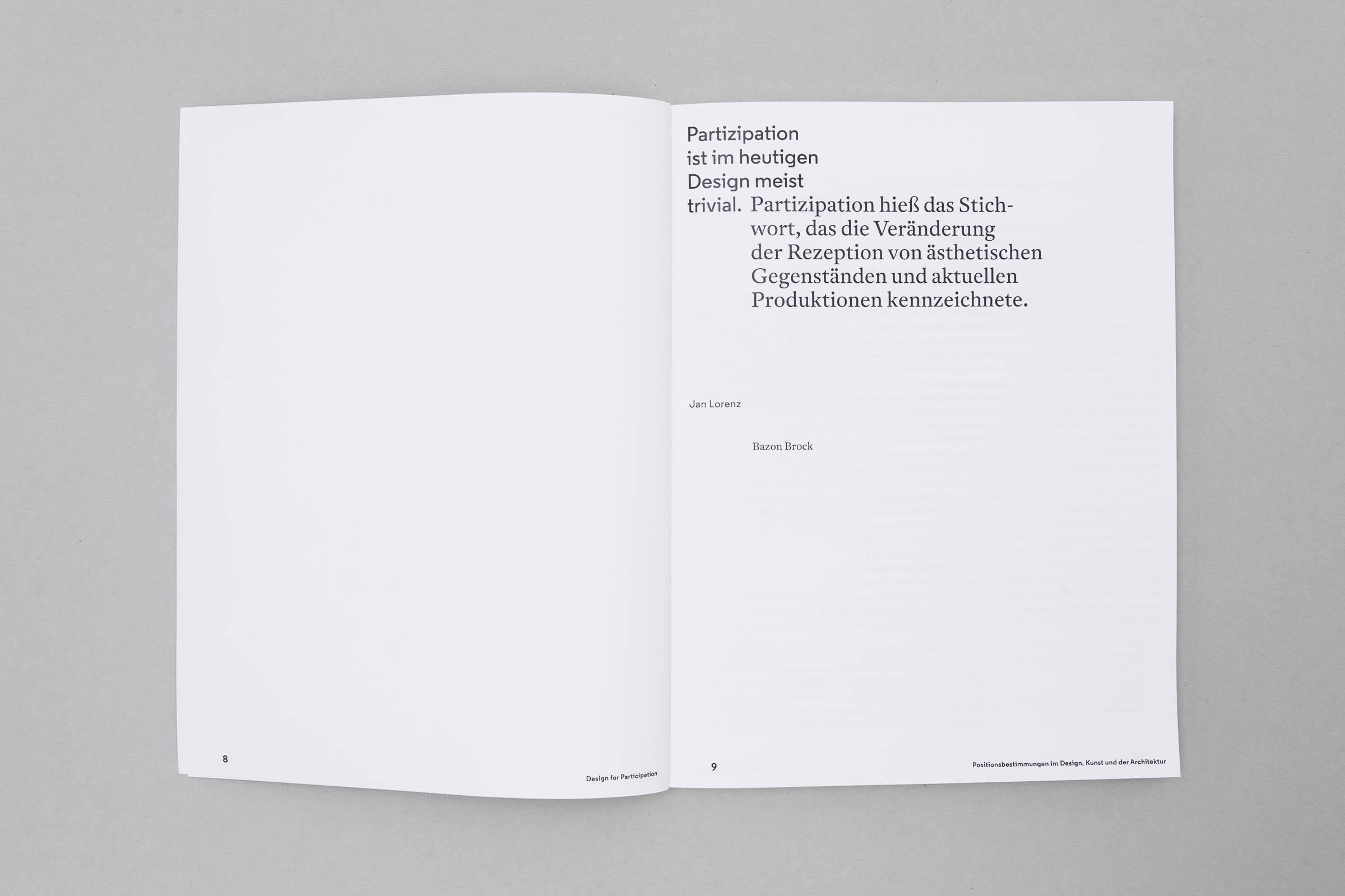 Design for Participation Buchgestaltung Doppelseite Kapitelstartseite © Christian Weber – Büro für Gestaltung und Kommunikation