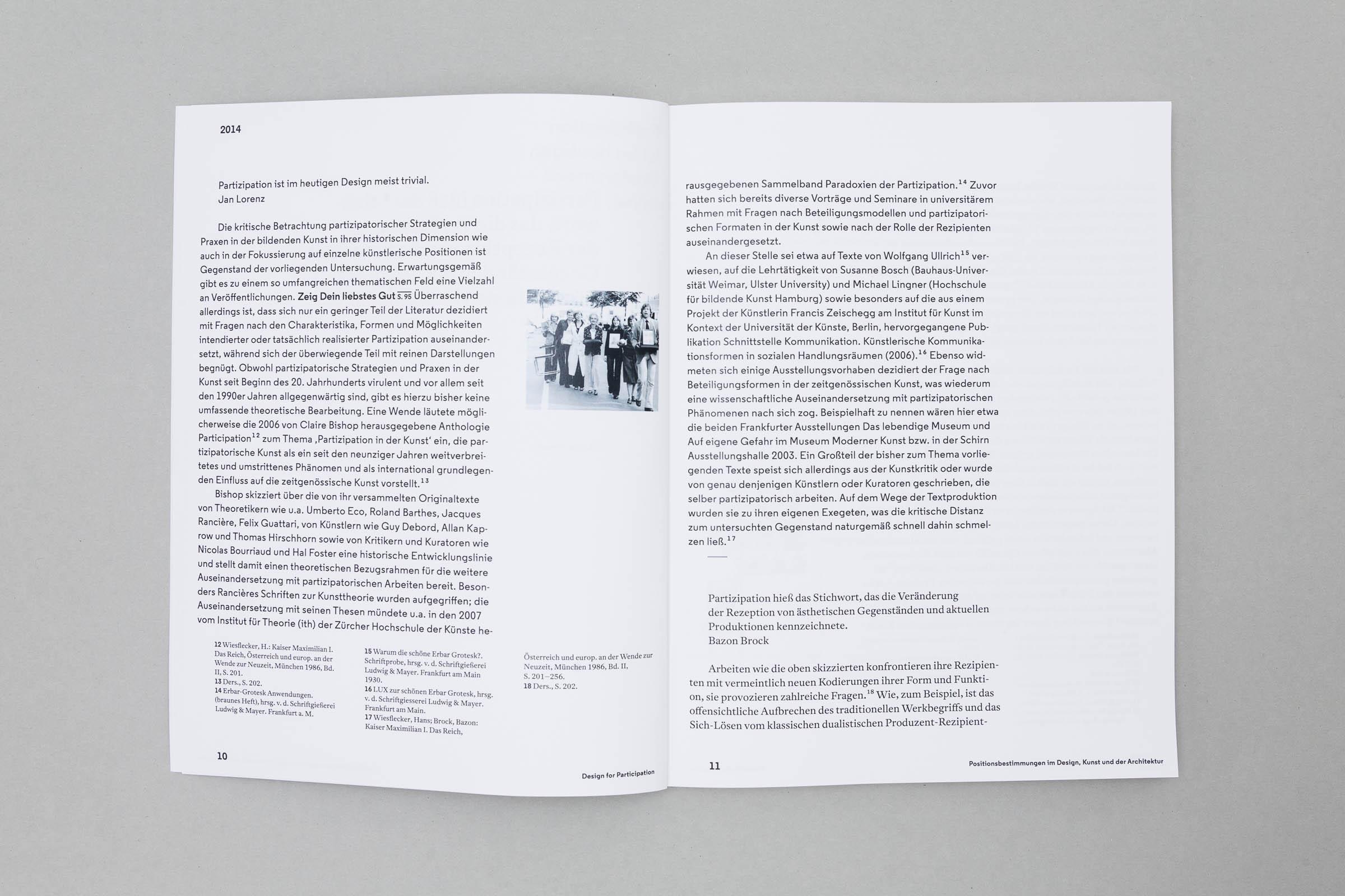 Design for Participation Buchgestaltung Doppelseite mit Fließtext und Fußnoten © Christian Weber – Büro für Gestaltung und Kommunikation