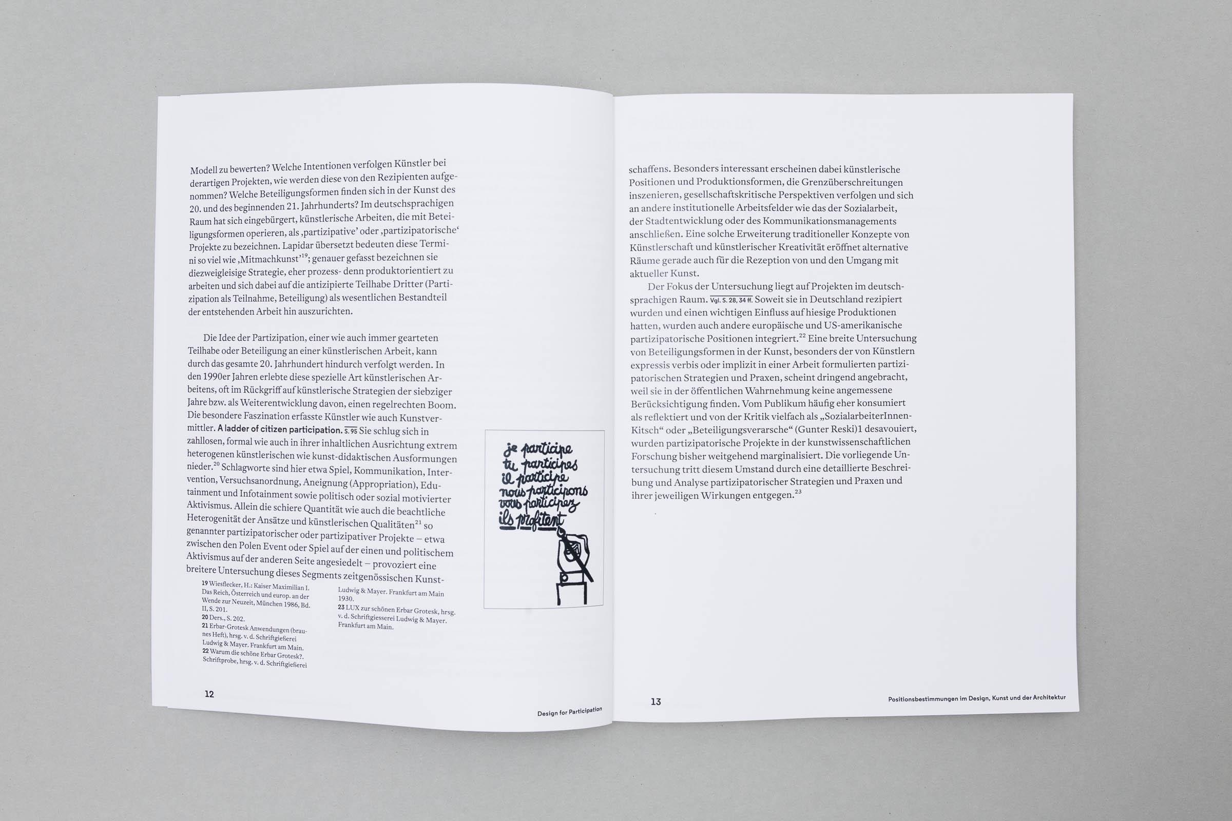 Design for Participation Buchgestaltung Doppelseite mit Fließtext, Fußnoten und Bild © Christian Weber – Büro für Gestaltung und Kommunikation