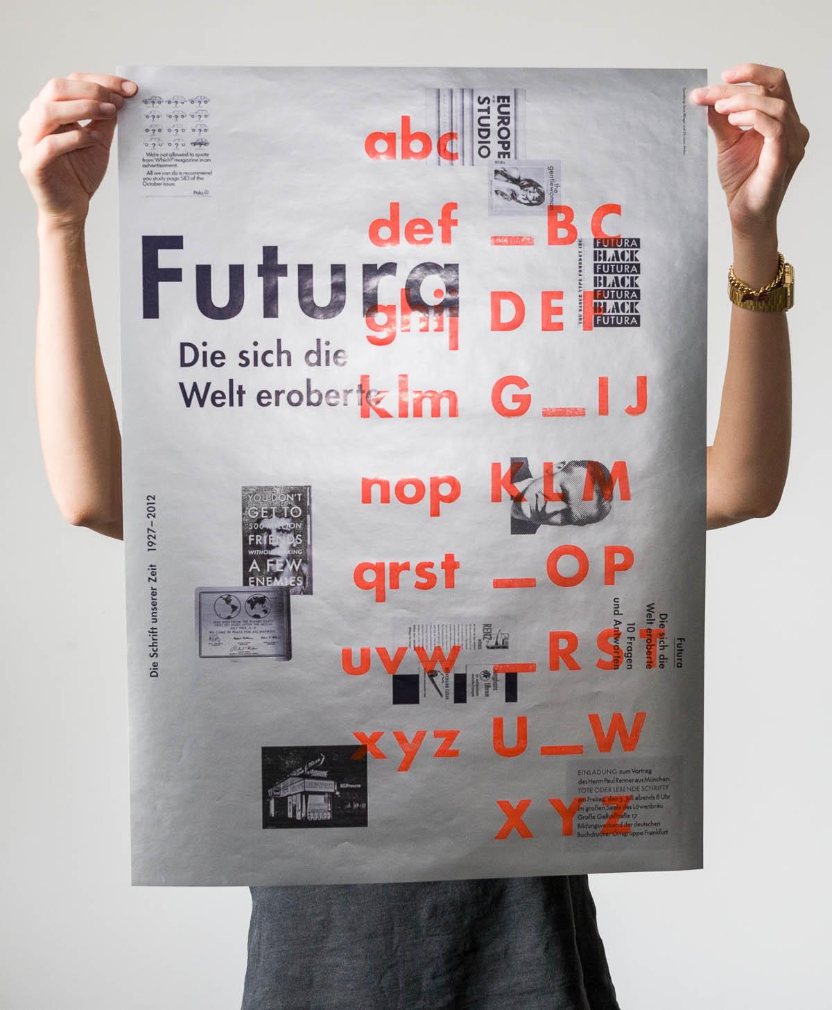 Futura – Die sich die Welt eroberte. 10 Fragen und Antworten. Plakat als Umschlag mit Futura Bold © Christian Weber – Büro für Gestaltung und Kommunikation