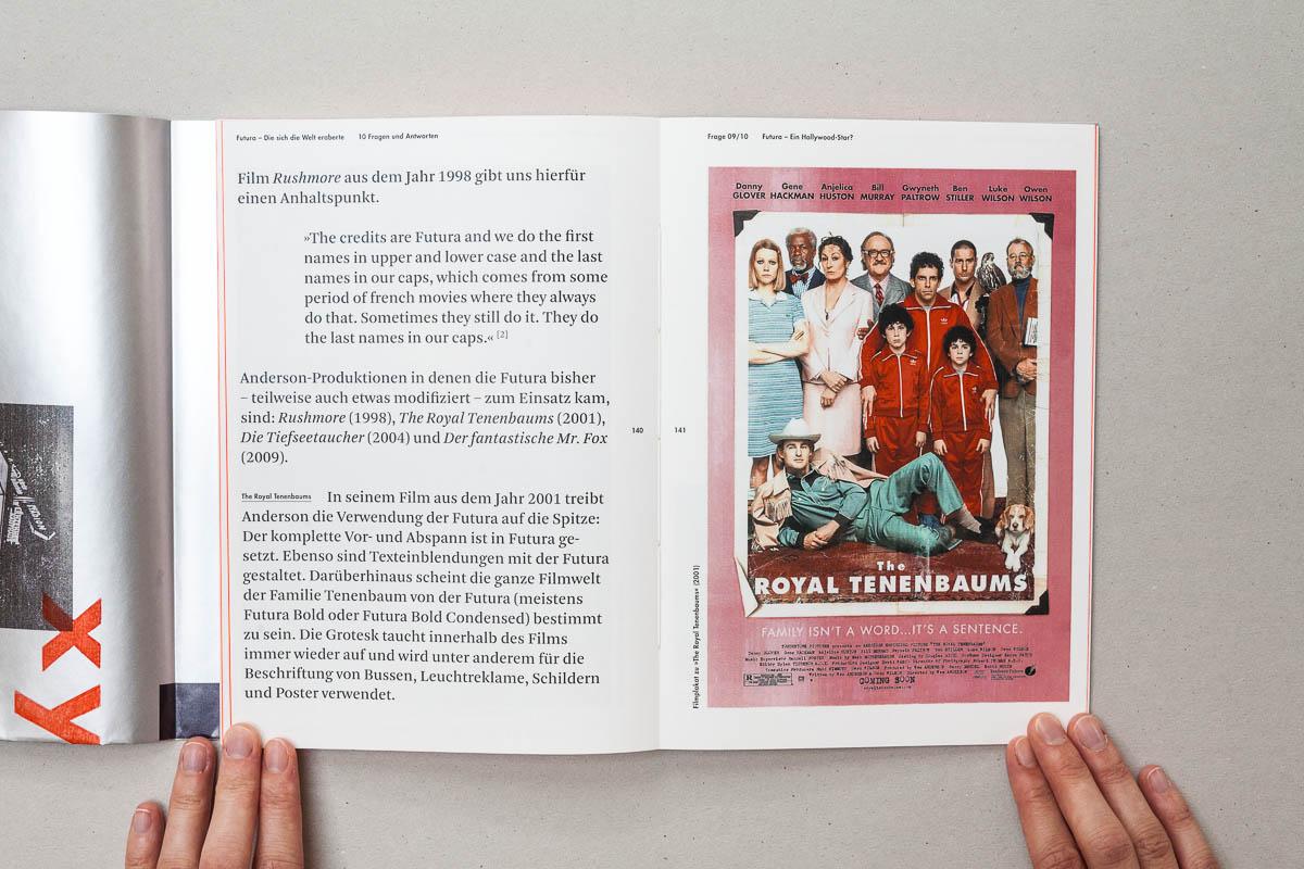 Doppelseite mit Fließtext und Zitat rechts ganzseitiges Bild Futura – Die sich die Welt eroberte. 10 Fragen und Antworten. © Christian Weber – Büro für Gestaltung und Kommunikation