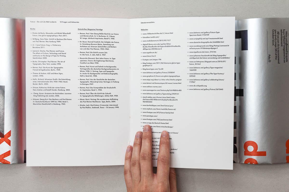 Doppelseite mit Anhang Futura – Die sich die Welt eroberte. 10 Fragen und Antworten. © Christian Weber – Büro für Gestaltung und Kommunikation