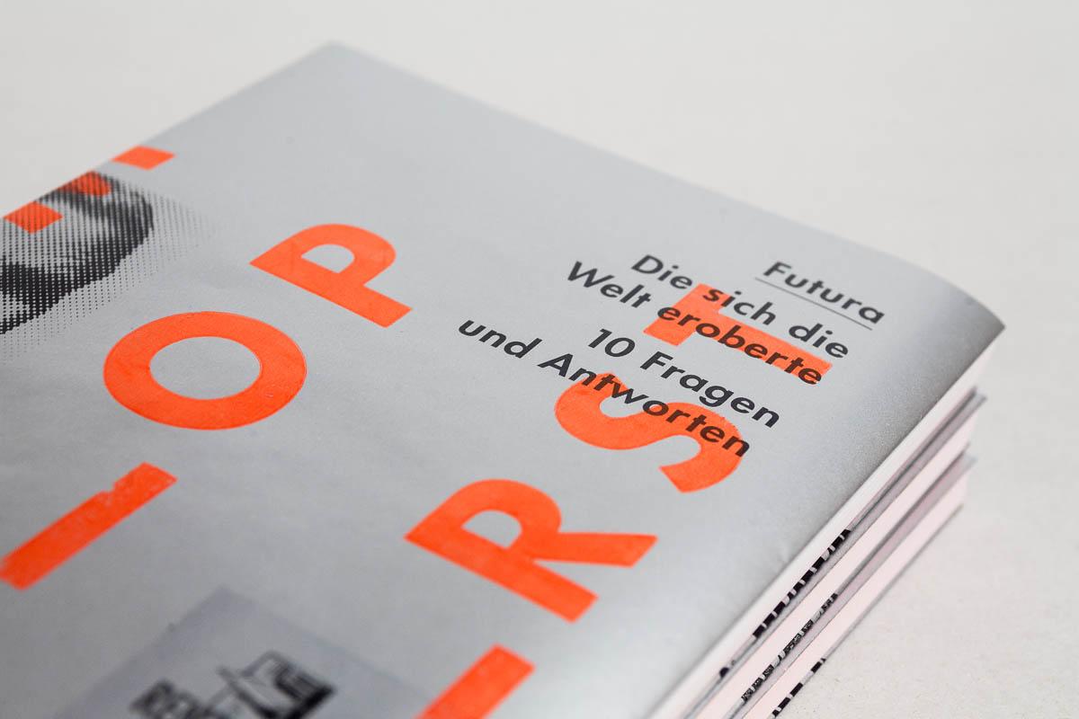 Detailansicht des Covers Futura – Die sich die Welt eroberte. 10 Fragen und Antworten. © Christian Weber – Büro für Gestaltung und Kommunikation