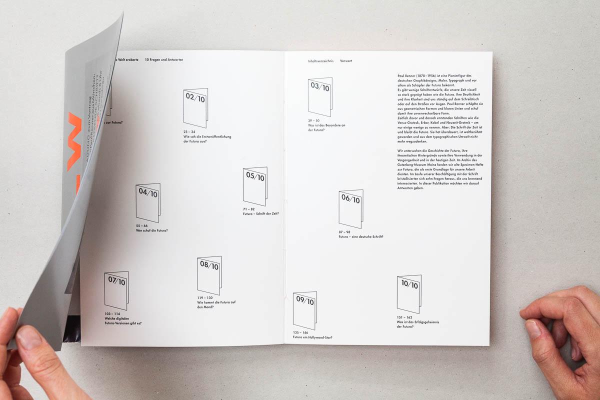 Ansicht erste Doppelseite mit Inhaltsverzeichnis Futura – Die sich die Welt eroberte. 10 Fragen und Antworten. © Christian Weber – Büro für Gestaltung und Kommunikation