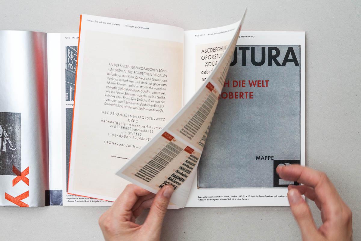 Ansicht Innenseiten mit Bidlern Futura – Die sich die Welt eroberte. 10 Fragen und Antworten. © Christian Weber – Büro für Gestaltung und Kommunikation