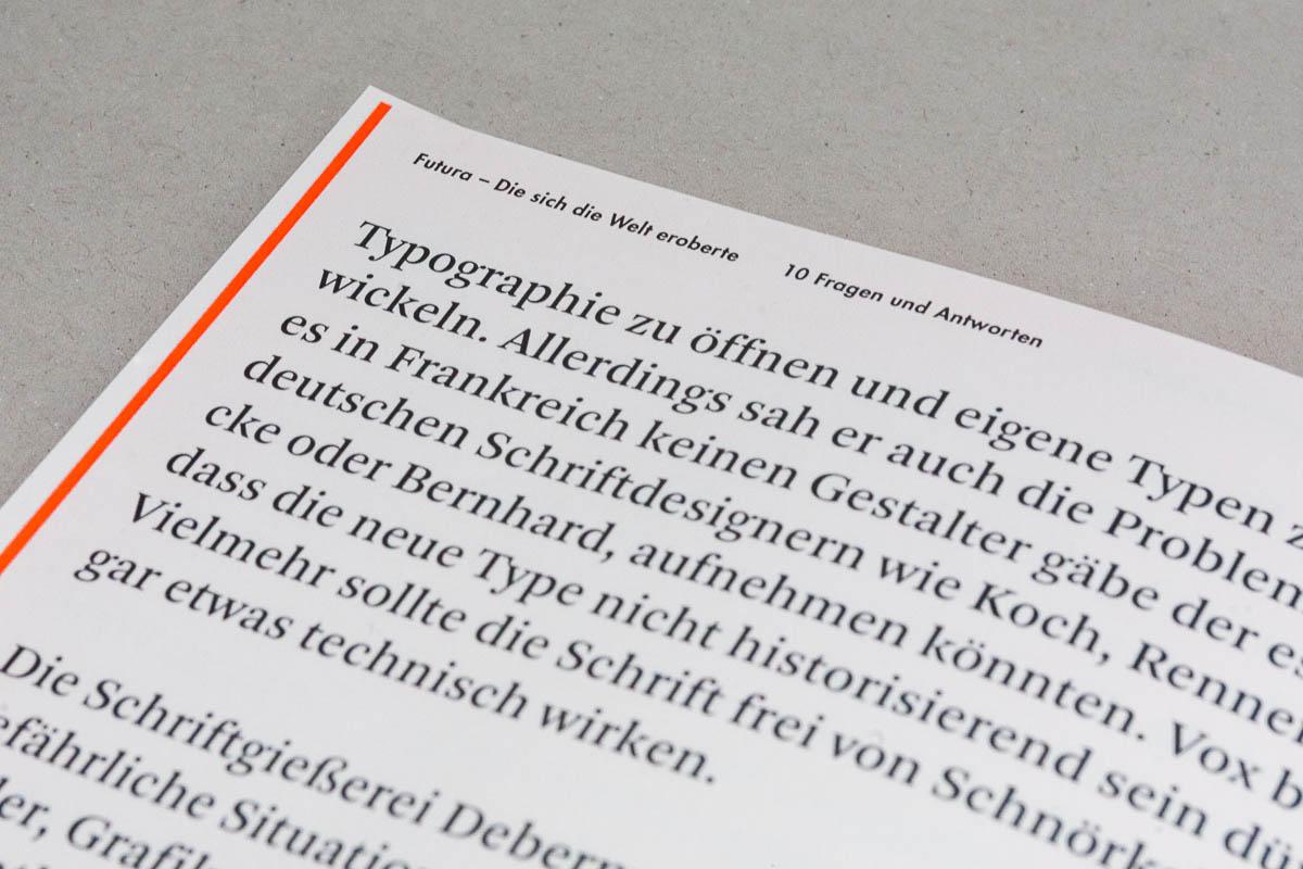 Detailansicht der Typografie Futura – Die sich die Welt eroberte. 10 Fragen und Antworten. © Christian Weber – Büro für Gestaltung und Kommunikation
