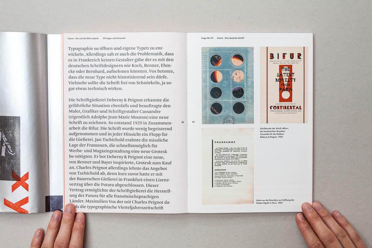 Doppelseite links Text rechts Bilder Futura – Die sich die Welt eroberte. 10 Fragen und Antworten. © Christian Weber – Büro für Gestaltung und Kommunikation