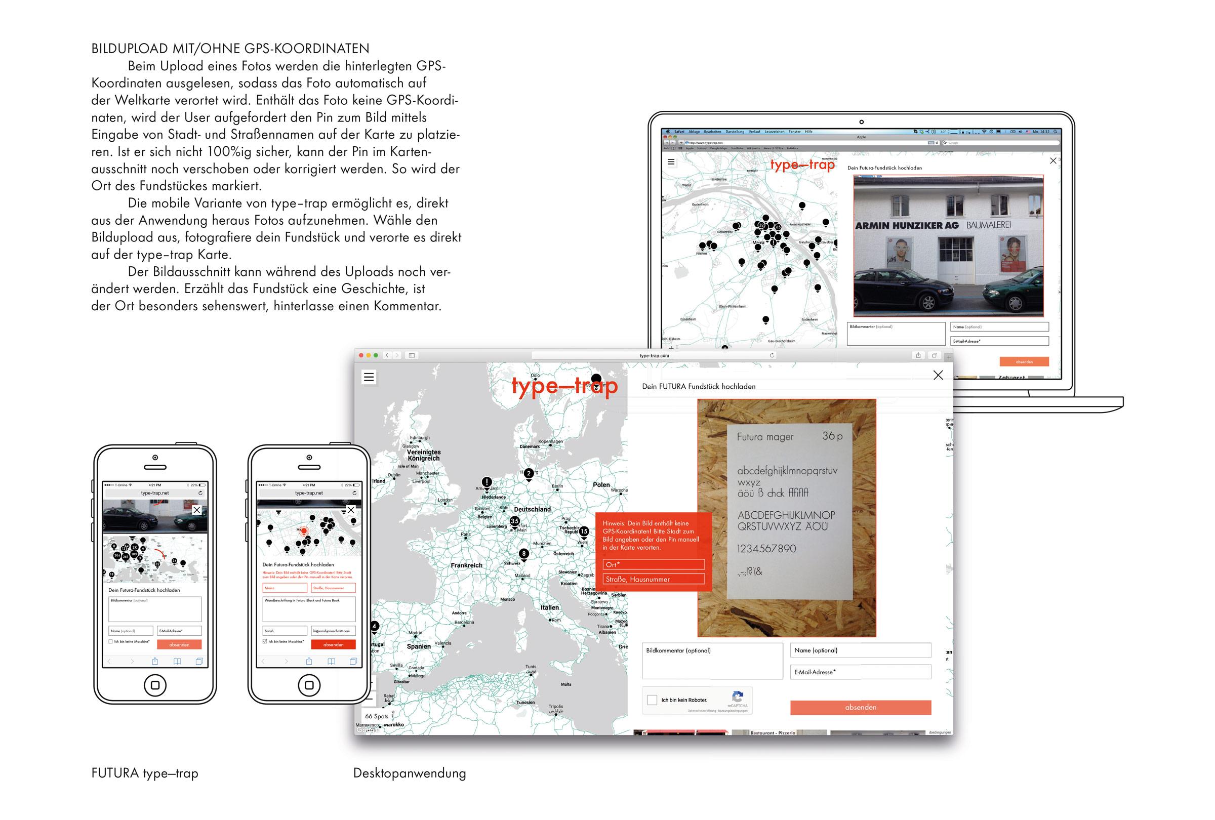 FUTURA type-trap – Bildupload mit und ohne GPS-Koordinaten © Christian Weber – Büro für Gestaltung und Kommunikation