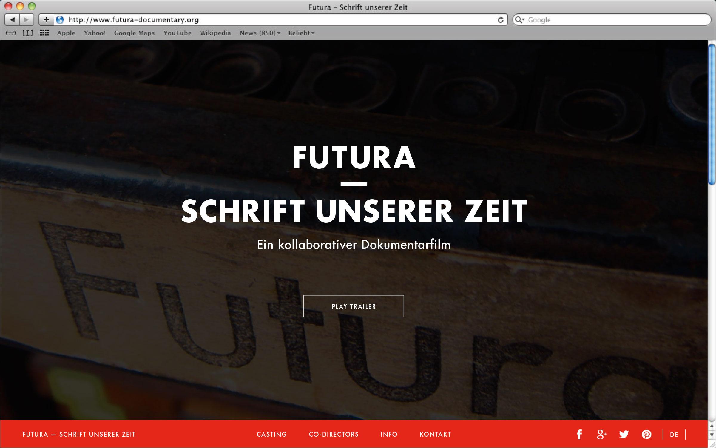 Erste Seite der One-Scrolling-Webseite Futura – Schrift unserer Zeit. Ein kollaborativer Dokumentarfilm. © Christian Weber – Büro für Gestaltung und Kommunikation