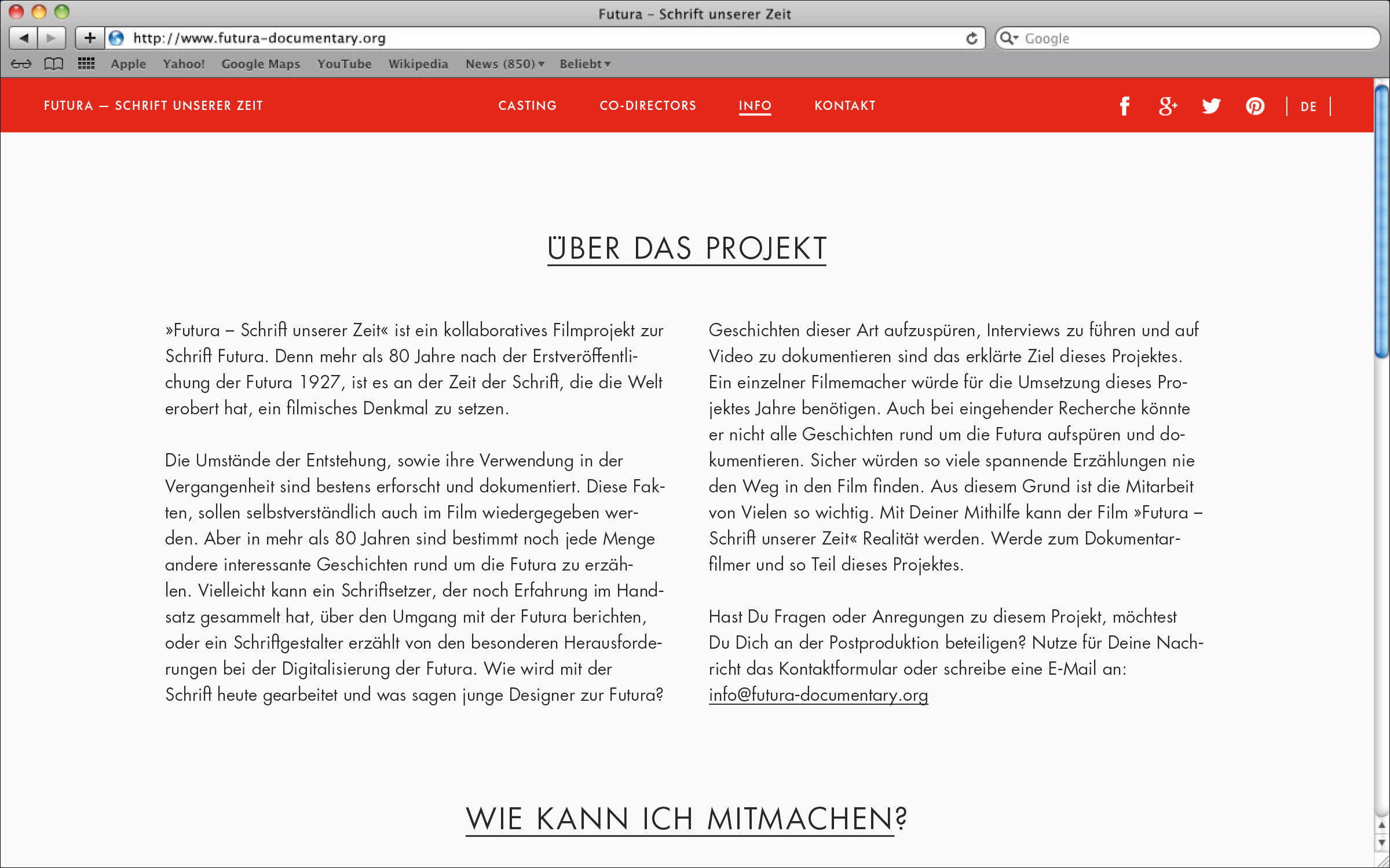 Webseite mit Informationen zum Projekt © Christian Weber – Büro für Gestaltung und Kommunikation