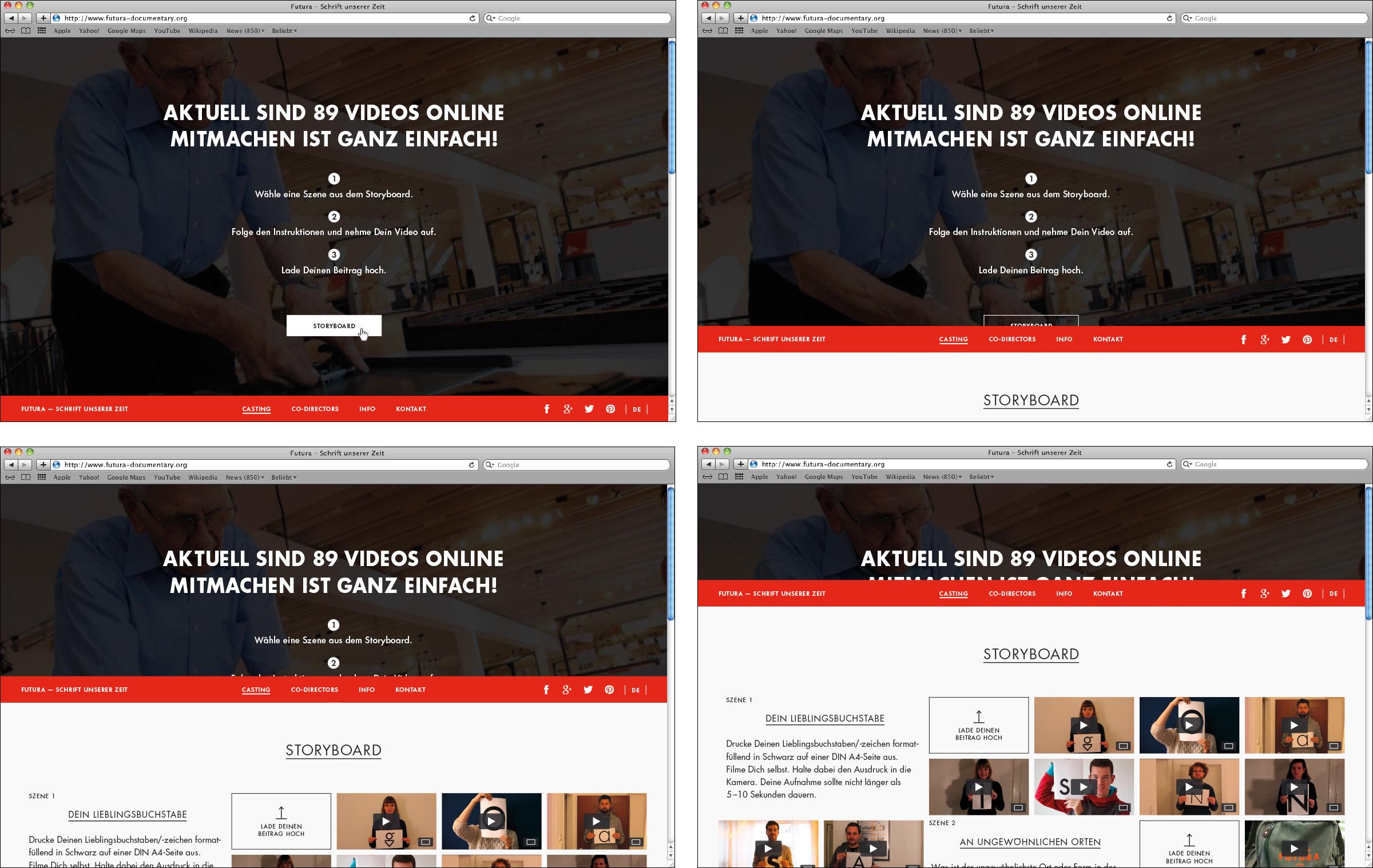 Übersicht Bewegung Overlay Webseite Futura – Schrift unserer Zeit. Ein kollaborativer Dokumentarfilm. © Christian Weber – Büro für Gestaltung und Kommunikation