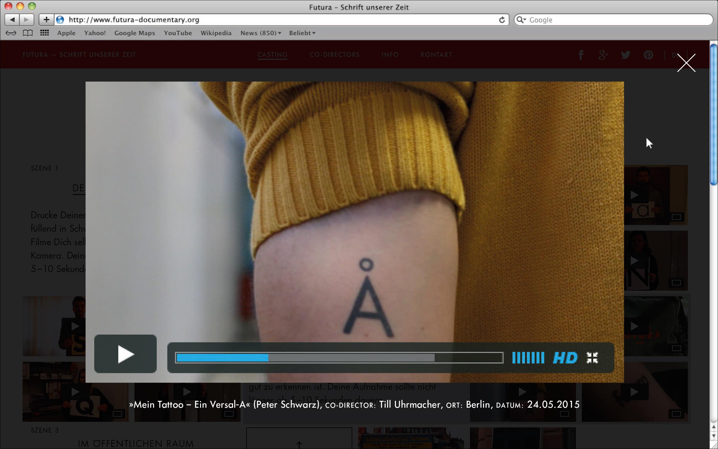 Eingebundenes Vimeo-Video wird in Lightbox wiedergegeben © Christian Weber – Büro für Gestaltung und Kommunikation