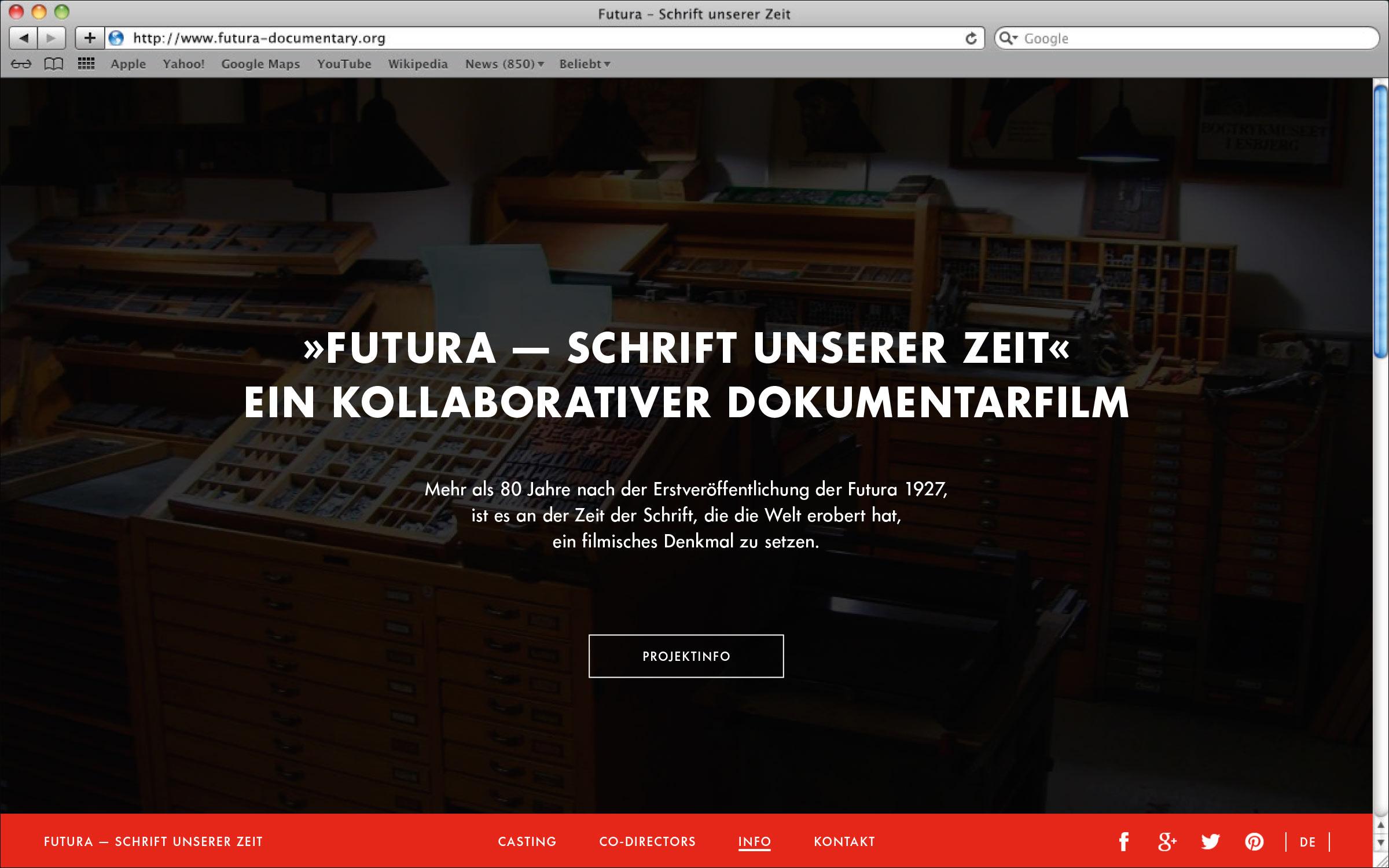 Webseite mit Slogan Futura – Schrift unserer Zeit. Ein kollaborativer Dokumentarfilm. © Christian Weber – Büro für Gestaltung und Kommunikation