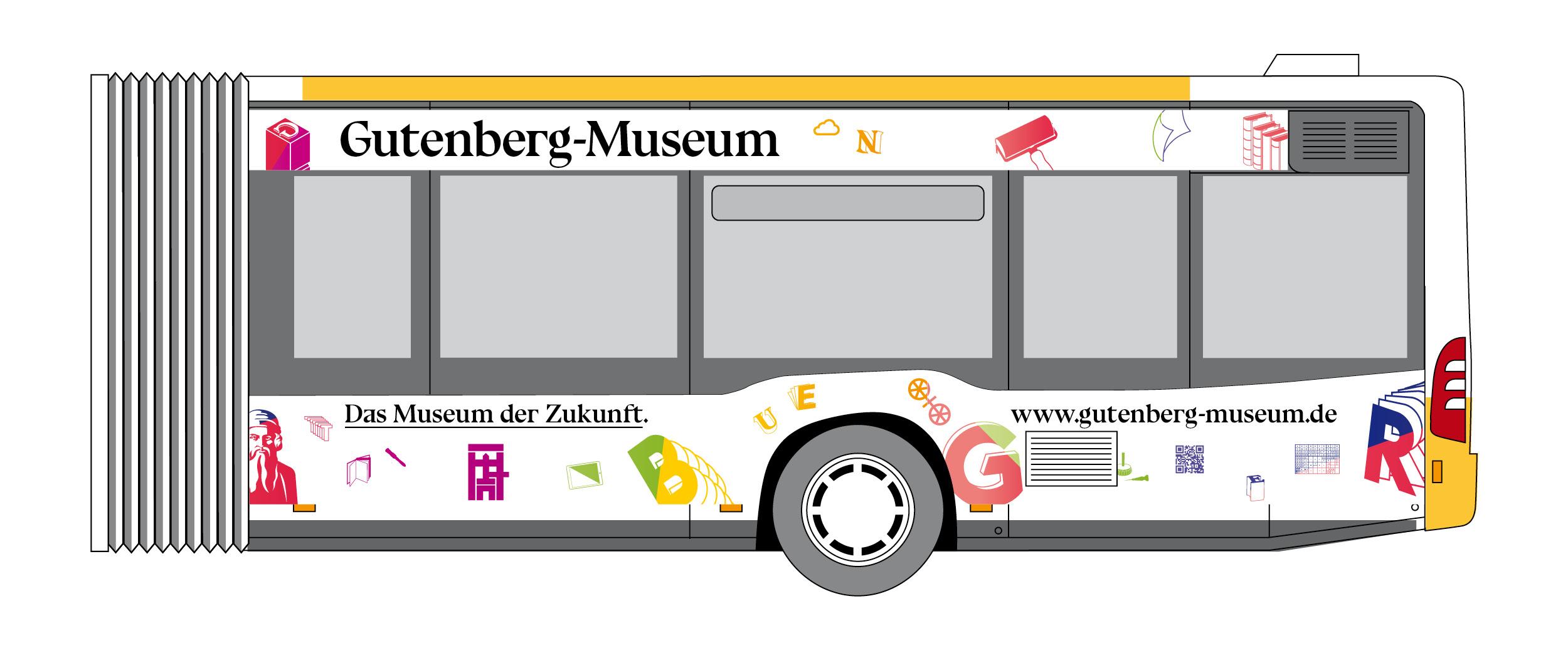 Fahrzeugbeklebung Straßenseite. Gestaltung eines Linienbus der MVG für das Gutenberg Museum Mainz. Das Museum der Zukunft © Christian Weber – Büro für Gestaltung und Kommunikation