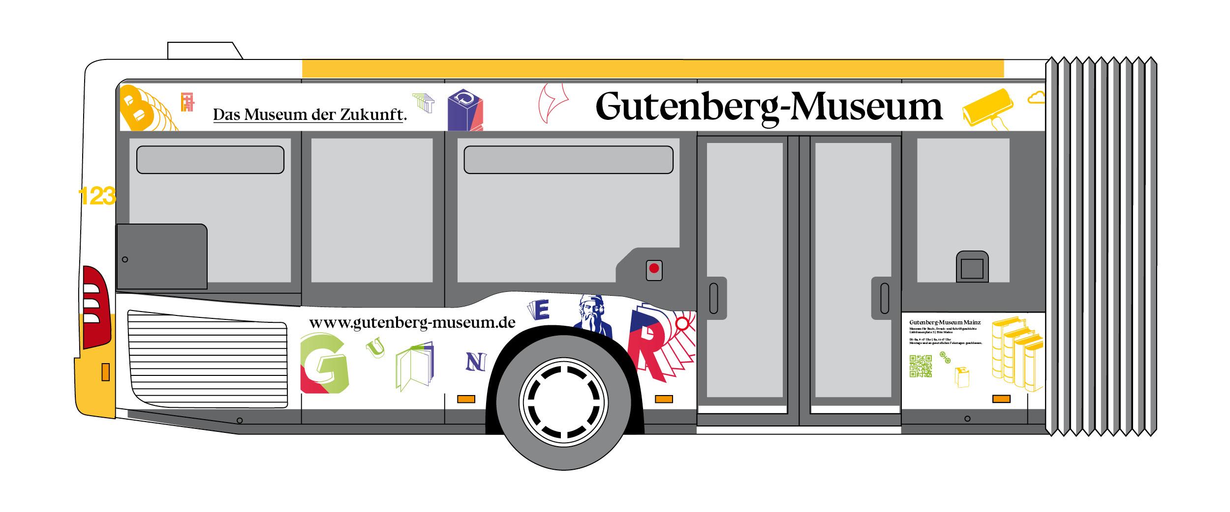 Fahrzeugbeklebung Einstiegsseite. Gestaltung eines Linienbus der MVG für das Gutenberg Museum Mainz. Das Museum der Zukunft © Christian Weber – Büro für Gestaltung und Kommunikation