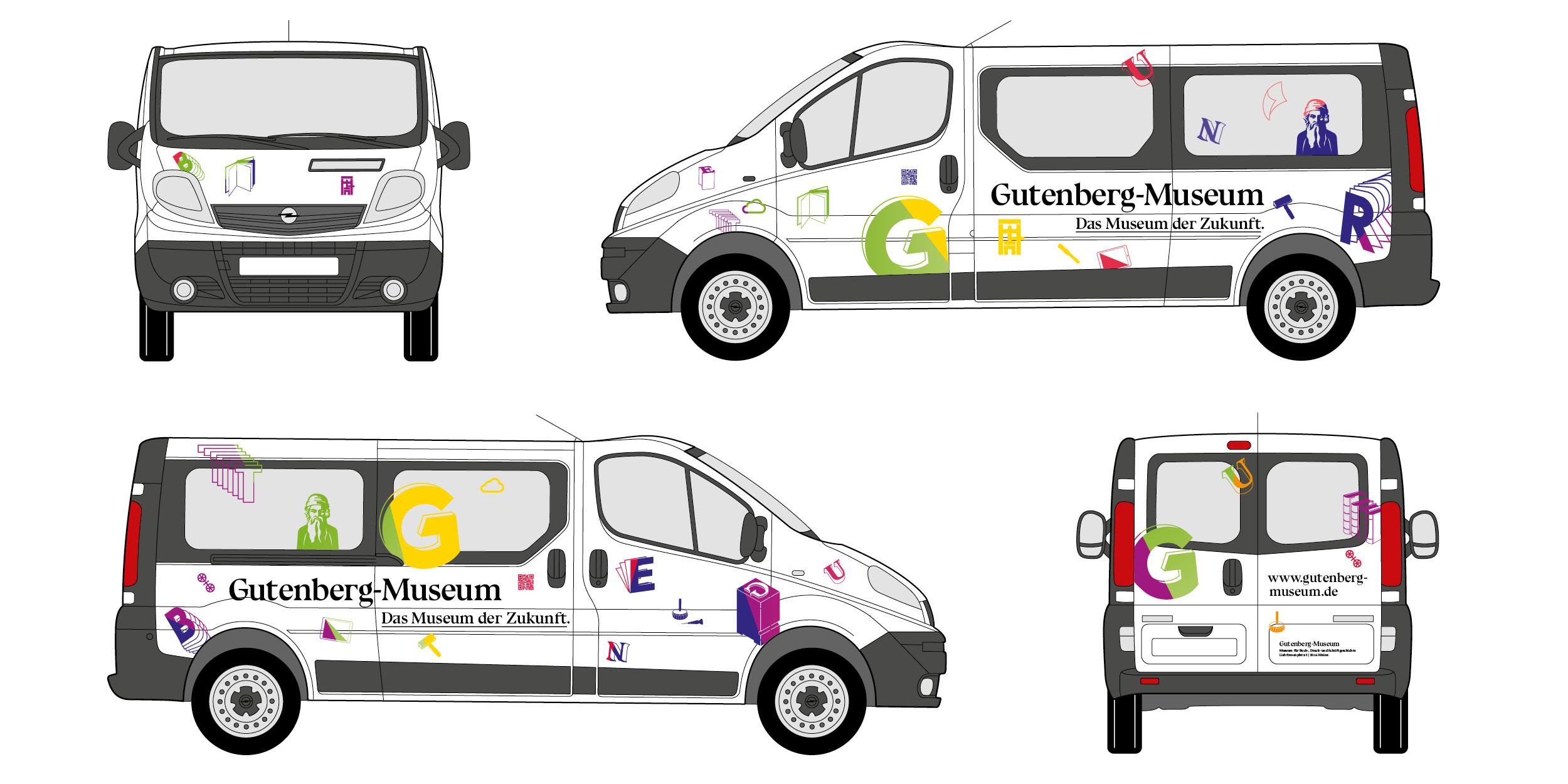 Fahrzeugbeklebung eines Kleintransporters/Bus für das Gutenberg Museum Mainz. Das Museum der Zukunft © Christian Weber – Büro für Gestaltung und Kommunikation