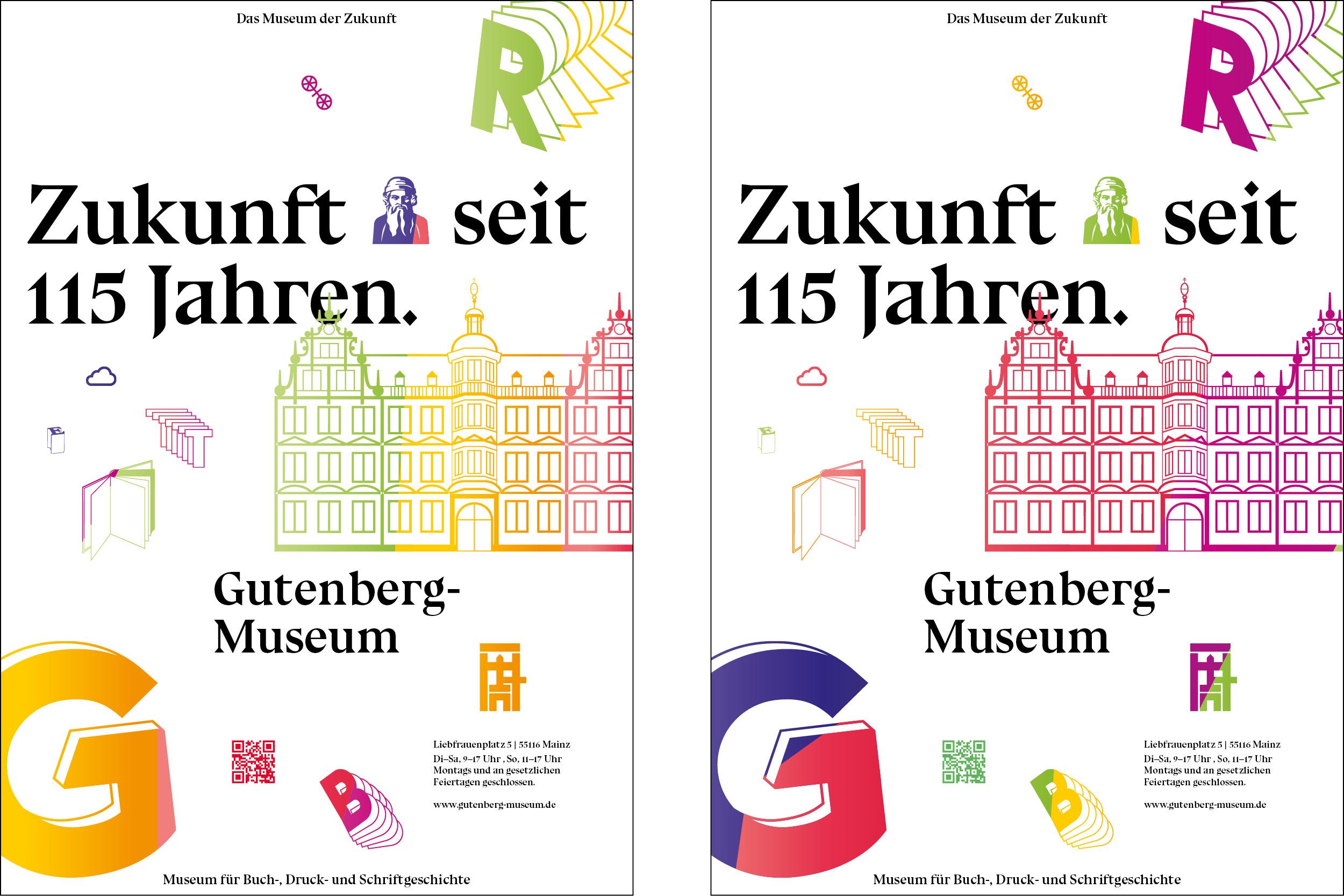 Plakatgestaltung auf Basis der Busbeklebung für das Gutenberg Museum Mainz. Das Museum der Zukunft © Christian Weber – Büro für Gestaltung und Kommunikation