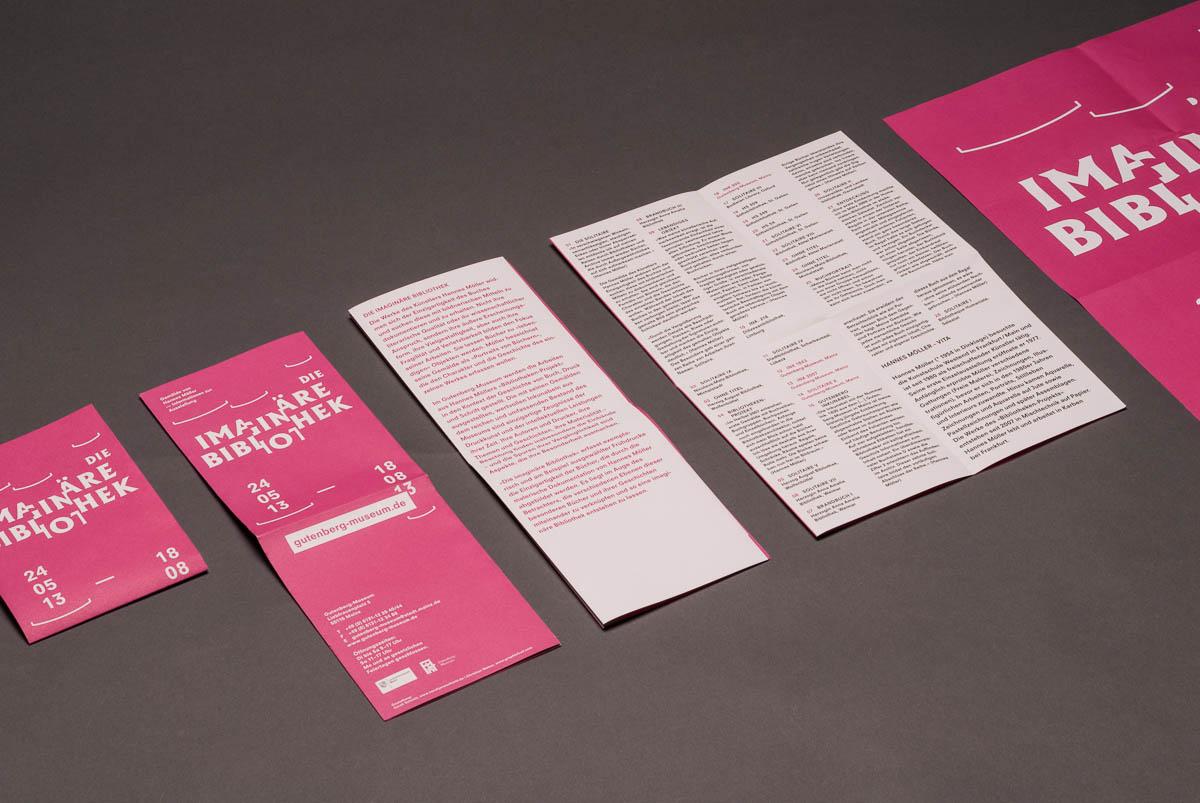 Falzschema Begleit-Flyer zur Ausstellung: Die imaginäre Bibliothek im Gutenberg-Museum, Mainz. Corporate Design © Christian Weber – Büro für Gestaltung und Kommunikation