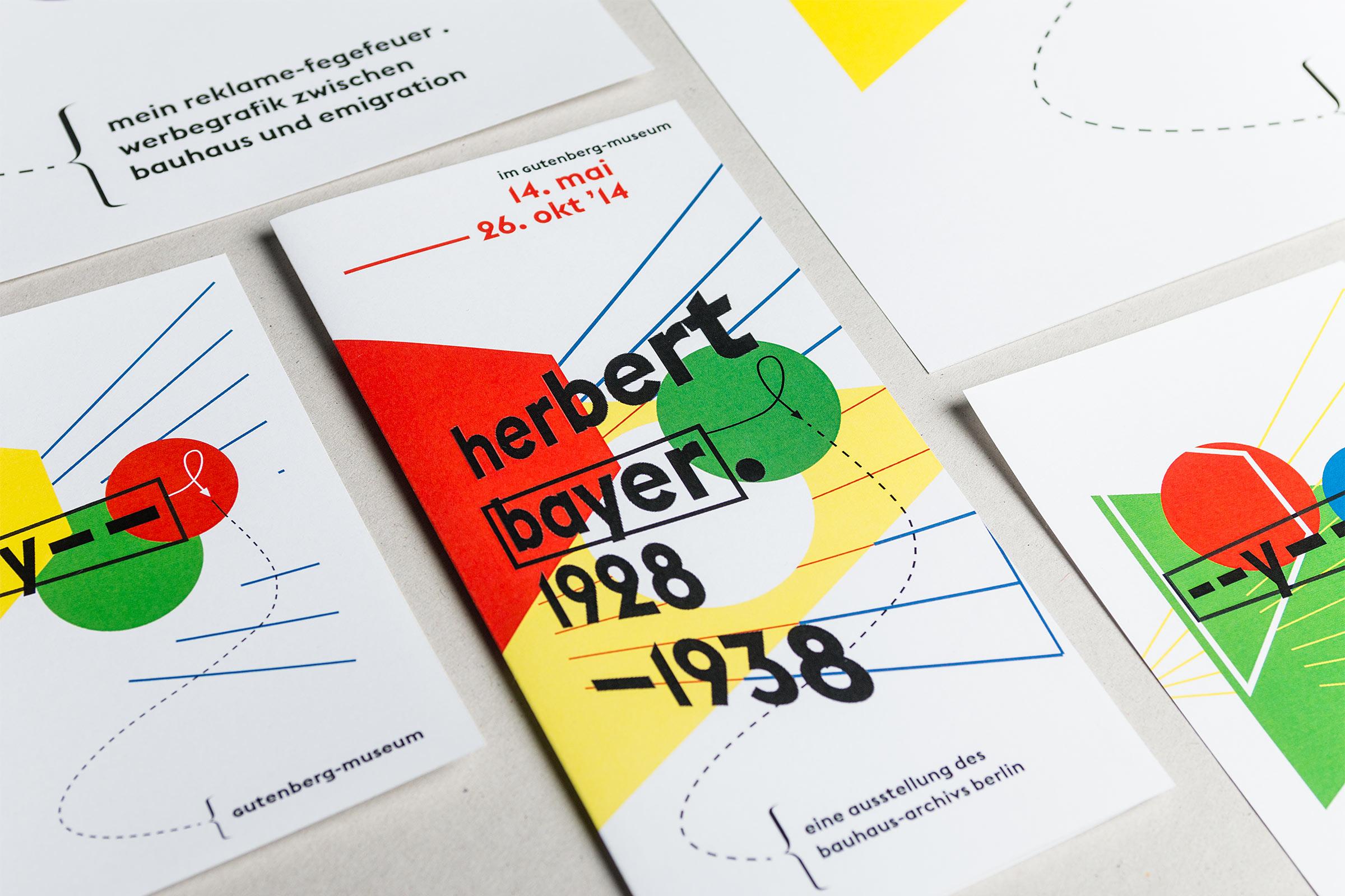 Titelseite und Detailansicht Flyer DIN lang zur Herbert Bayer-Ausstellung im Gutenberg-Museum Mainz. Das Museum der Zukunft © Christian Weber – Büro für Gestaltung und Kommunikation