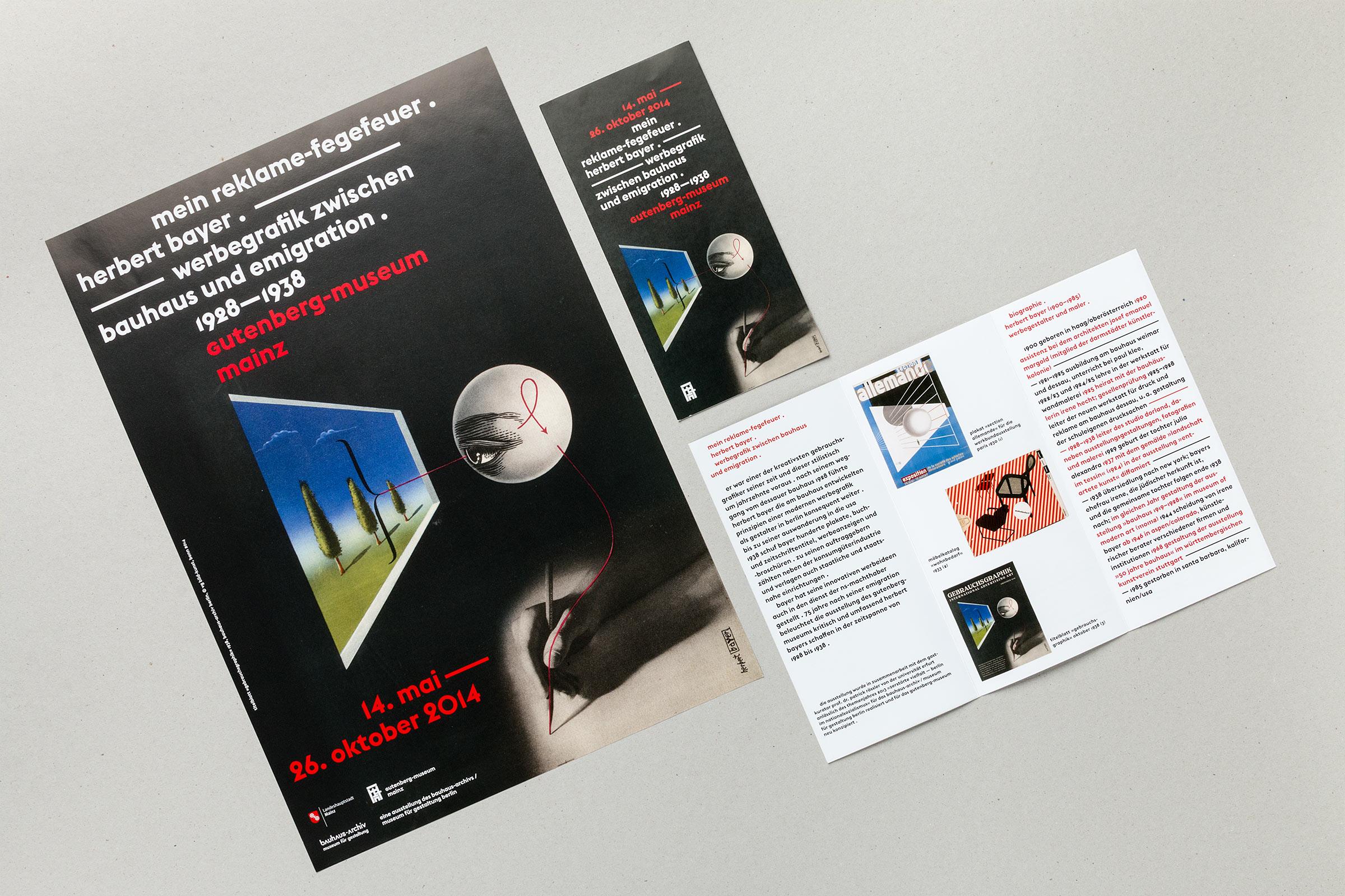 Plakat und Flyer auf Basis einer Titelseite des Magazins Gebrauchsgraphik zur Herbert Bayer-Ausstellung im Gutenberg-Museum Mainz. Das Museum der Zukunft © Christian Weber – Büro für Gestaltung und Kommunikation