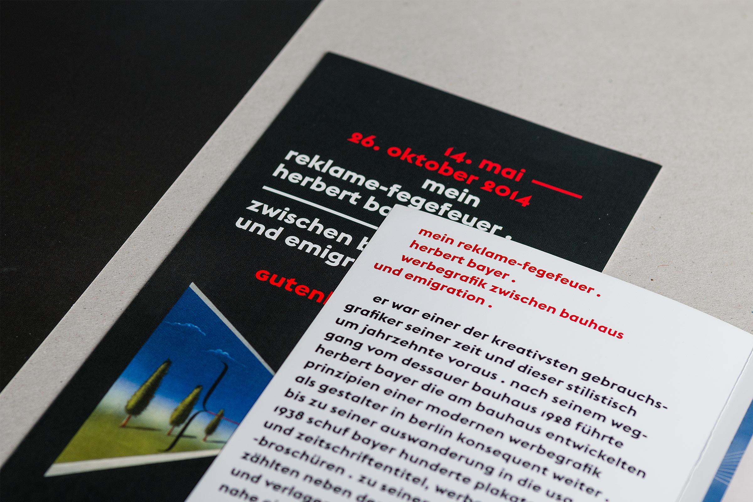 Detailansicht Flyer DIN lang zur Herbert Bayer-Ausstellung im Gutenberg-Museum Mainz. Das Museum der Zukunft © Christian Weber – Büro für Gestaltung und Kommunikation