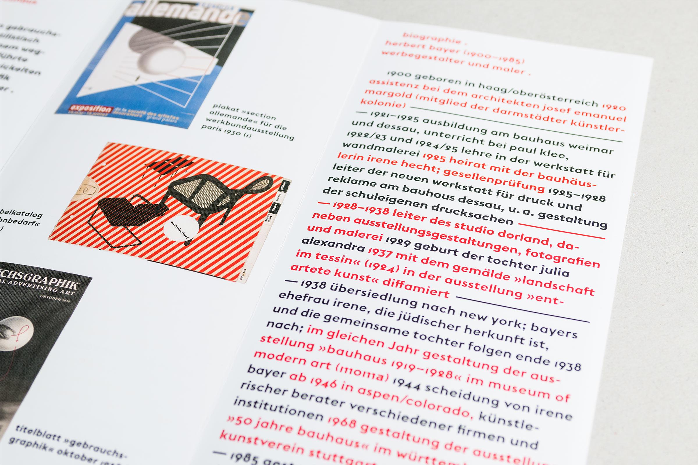 Innenansicht mit Typografie und Bild. Flyer DIN lang zur Herbert Bayer-Ausstellung im Gutenberg-Museum Mainz. Das Museum der Zukunft © Christian Weber – Büro für Gestaltung und Kommunikation