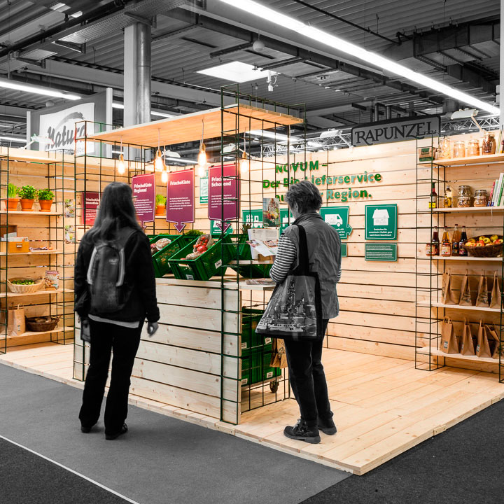 Messestand für NOVUM – Das Obst- und Gemüseabo © Christian Weber – Büro für Gestaltung und Kommunikation