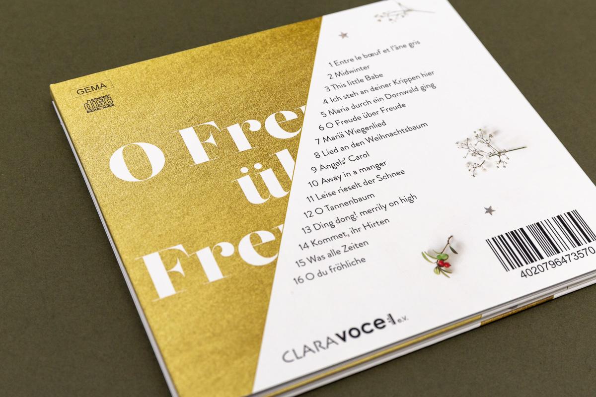Rückseite CD-Cover für Chor Clara Voce © Christian Weber – Büro für Gestaltung und Kommunikation